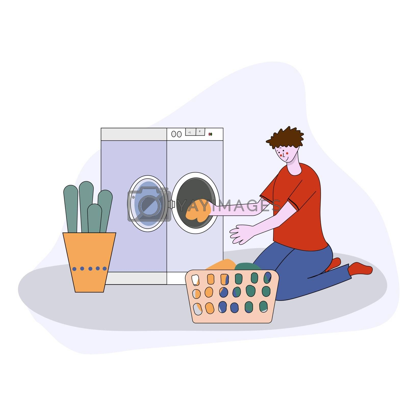 cartoon flat illustration - the guy in the blue dress with folded clothes in his hands next to a washing machine and detergent.