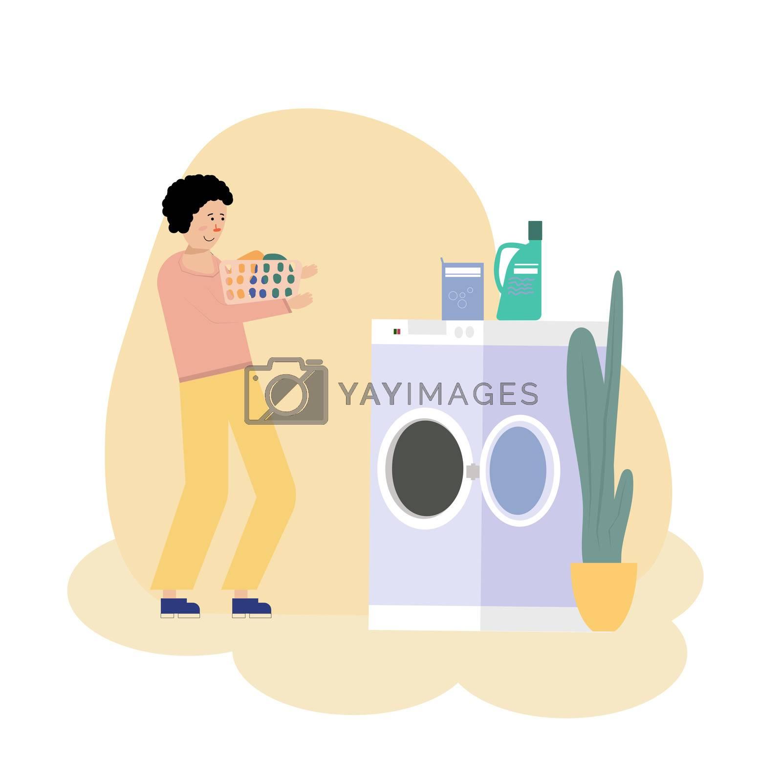 illustration of Boy doing laundry with washing machine.