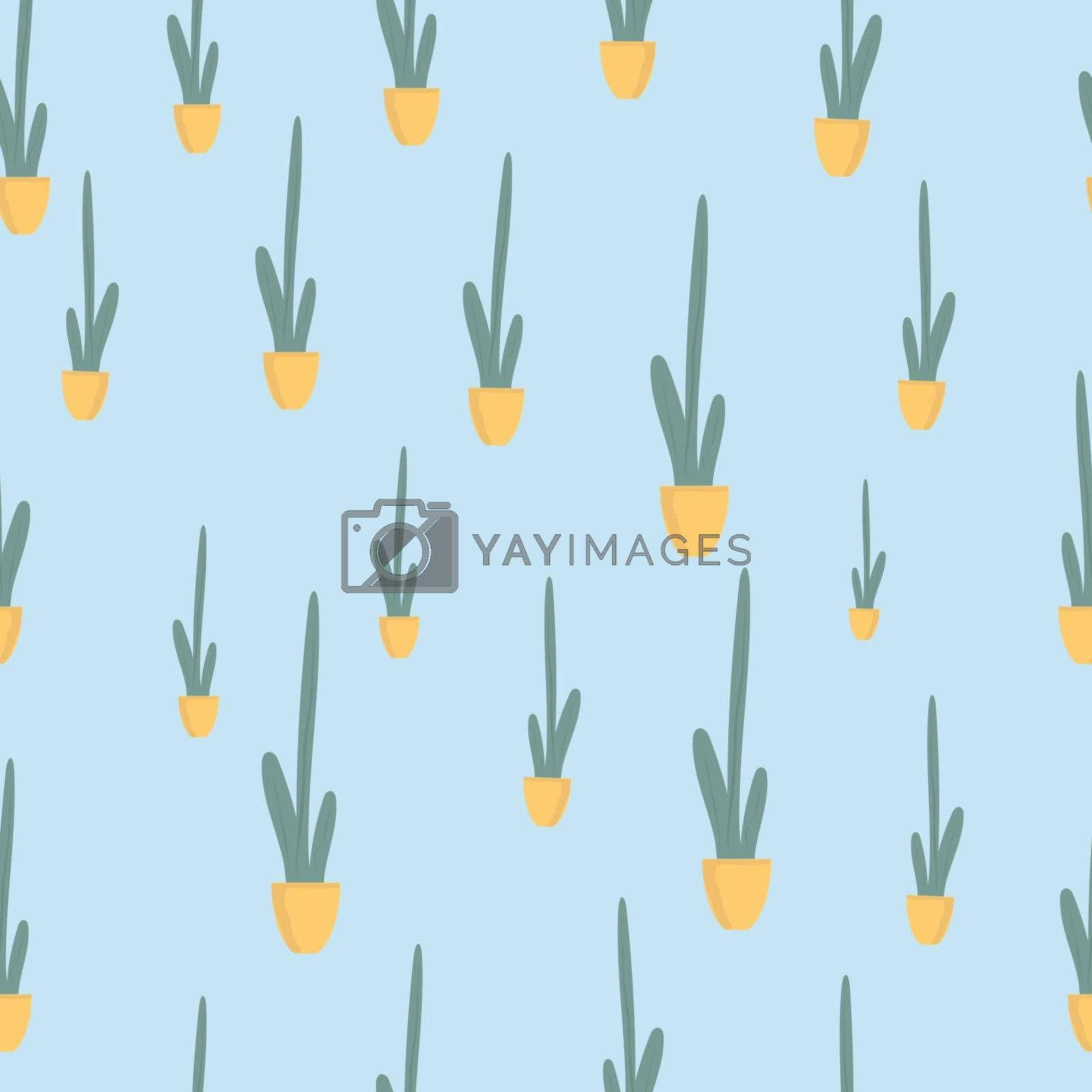 Seamless patternt Houseplant in ceramic pot flat vector illustration. Evergreen plant isolated on blue background