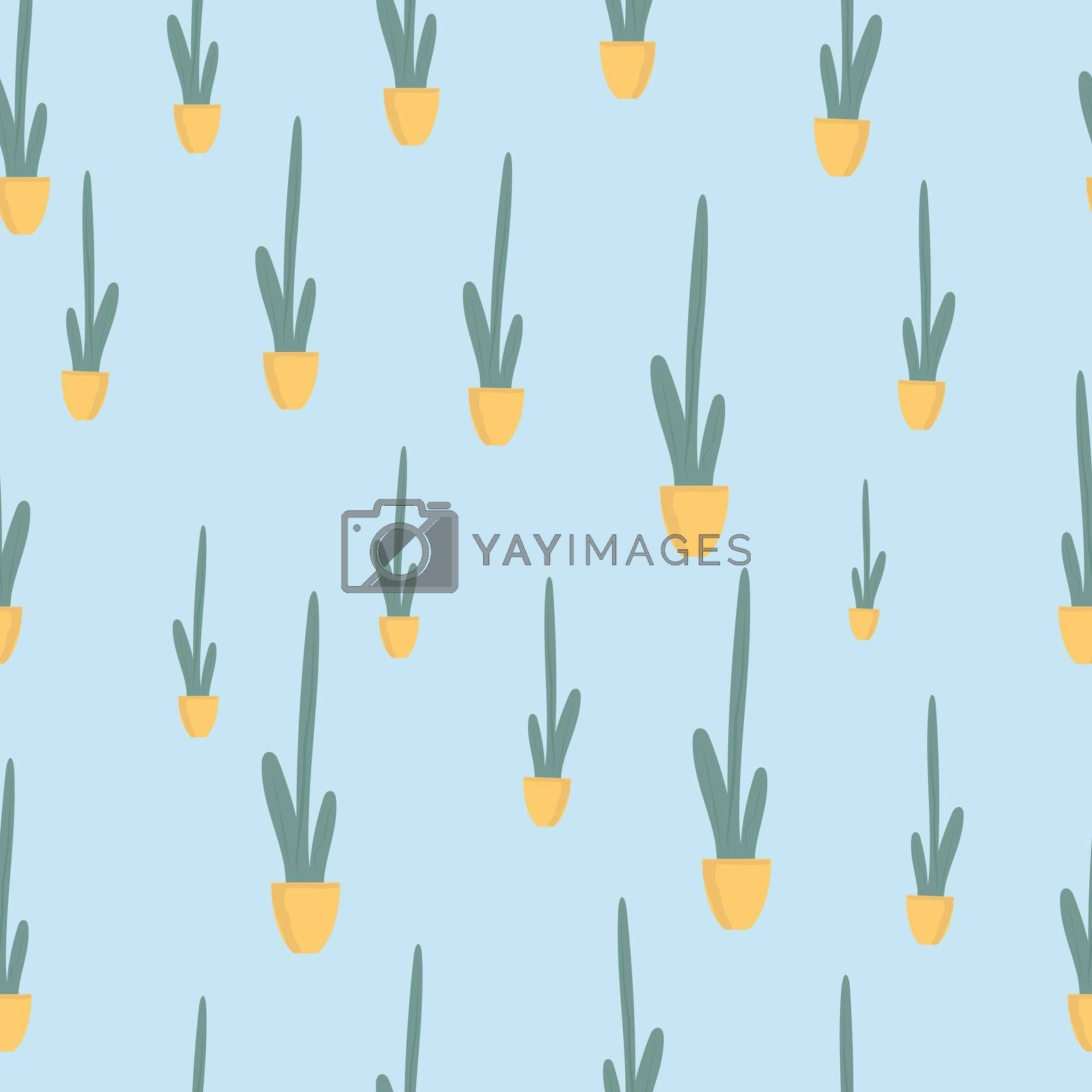 Seamless patternt Houseplant in ceramic pot flat illustration. Evergreen plant isolated on blue background