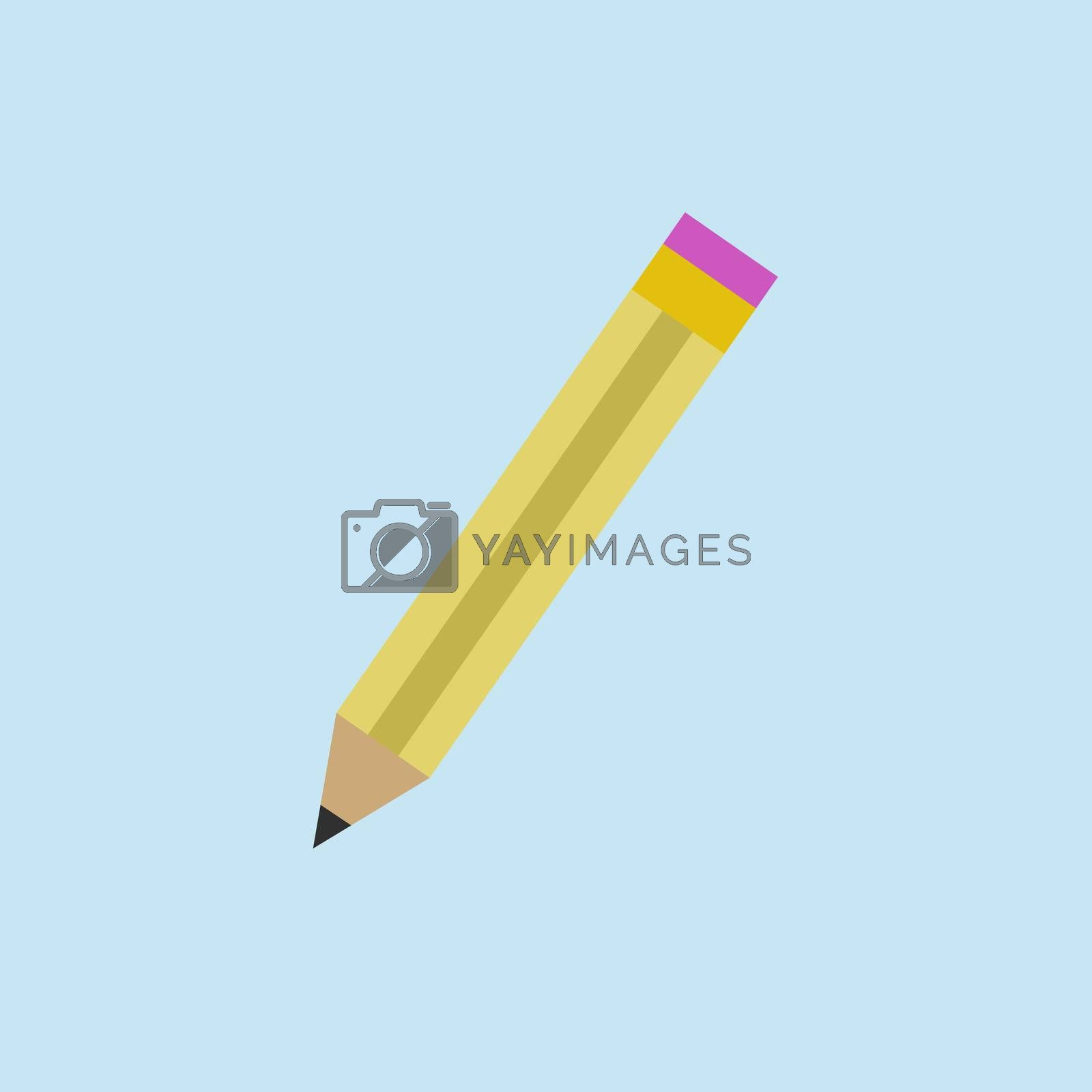 slate wooden pencil in flat style on a light blue background.