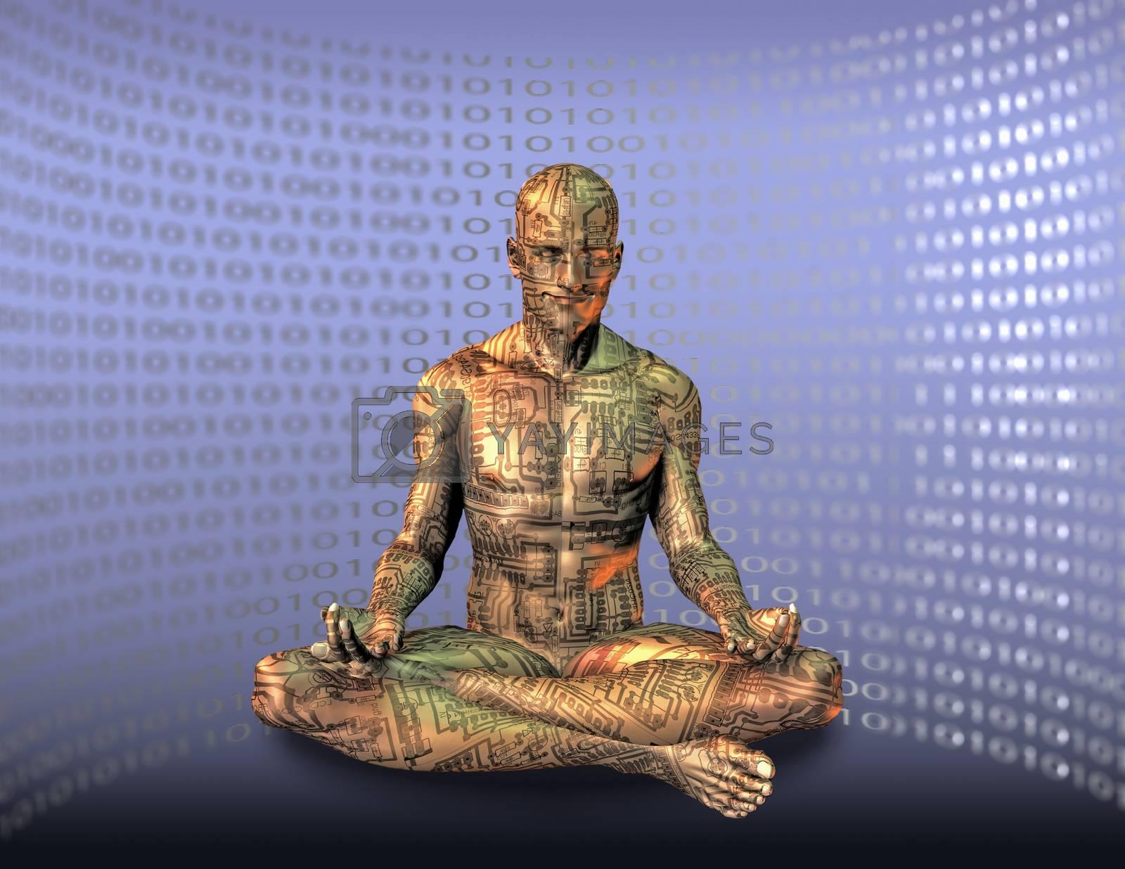 Cyborg meditates in lotus pose