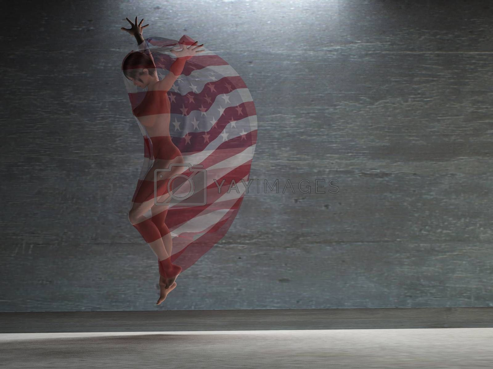 Action girl with transparent USA cloth. 3D rendering
