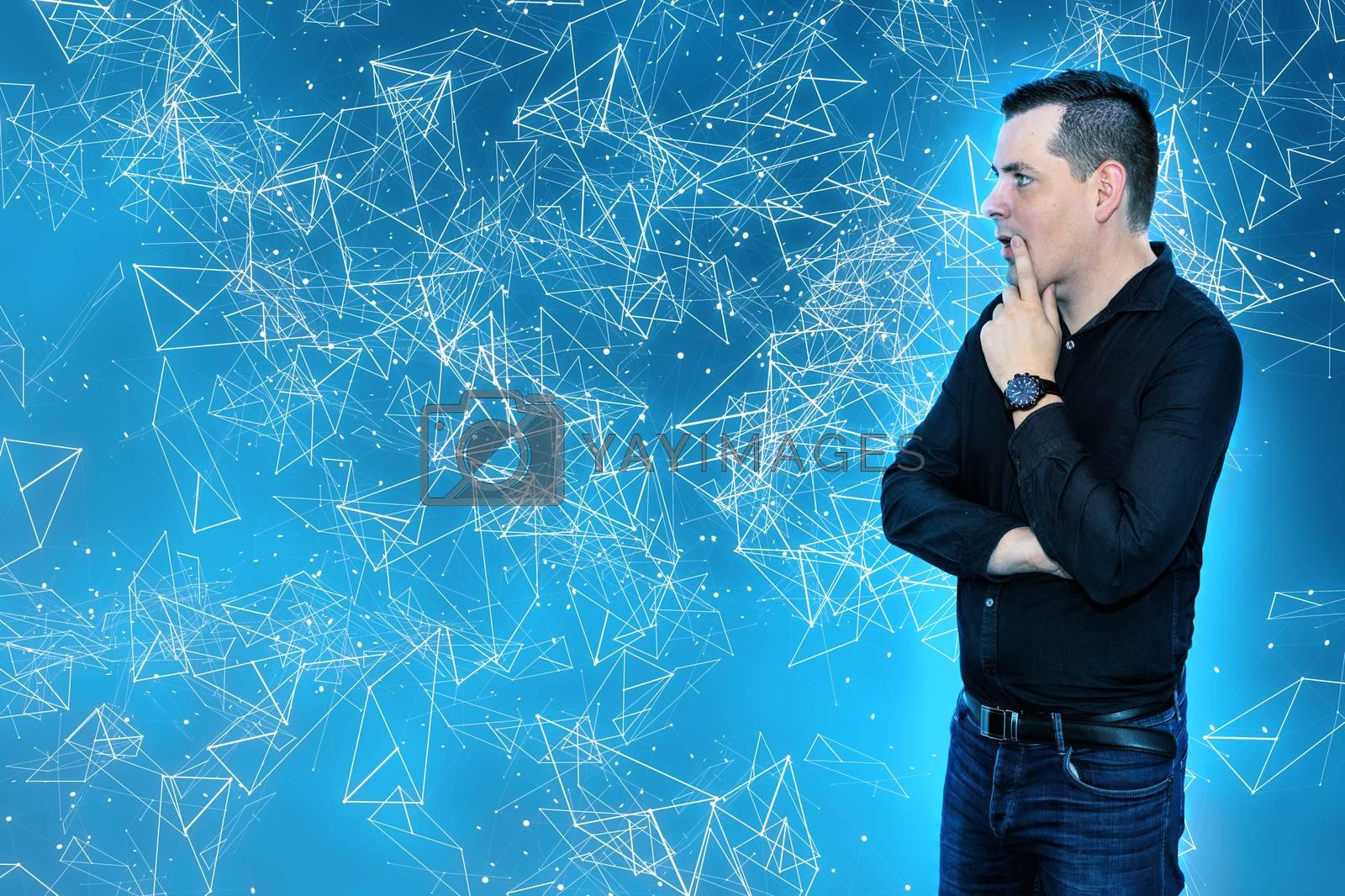 businessman against blue plexus background digital networking technology. lightning