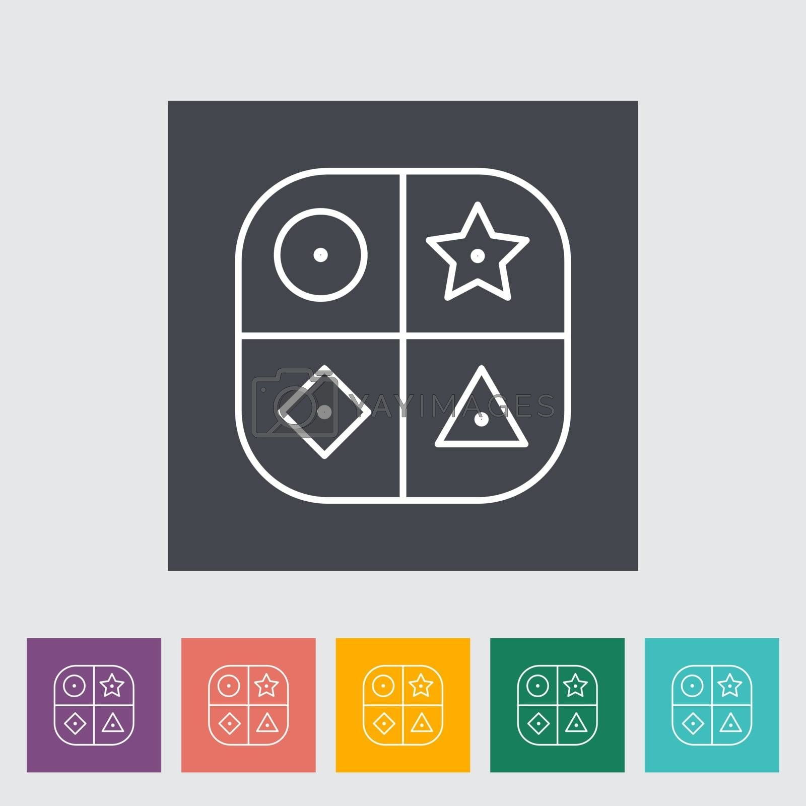 Sorter educational toy thin line flat vector related icon set for web and mobile applications. It can be used as - pictogram, icon, infographic element. Vector Illustration.
