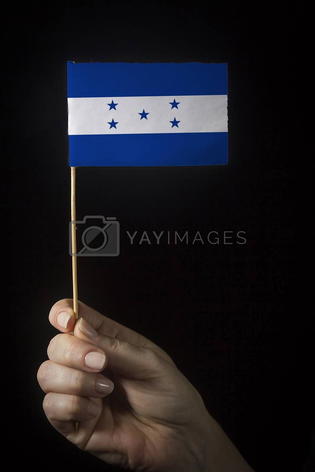 Hand with small flag of state of Honduras
