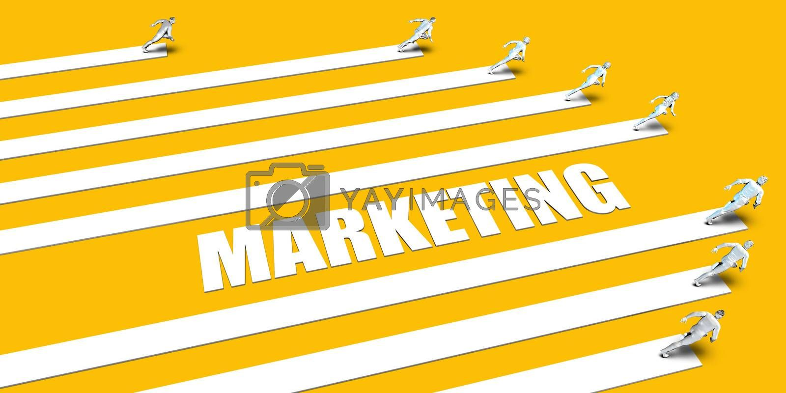 Marketing Concept with Business People Running on Yellow