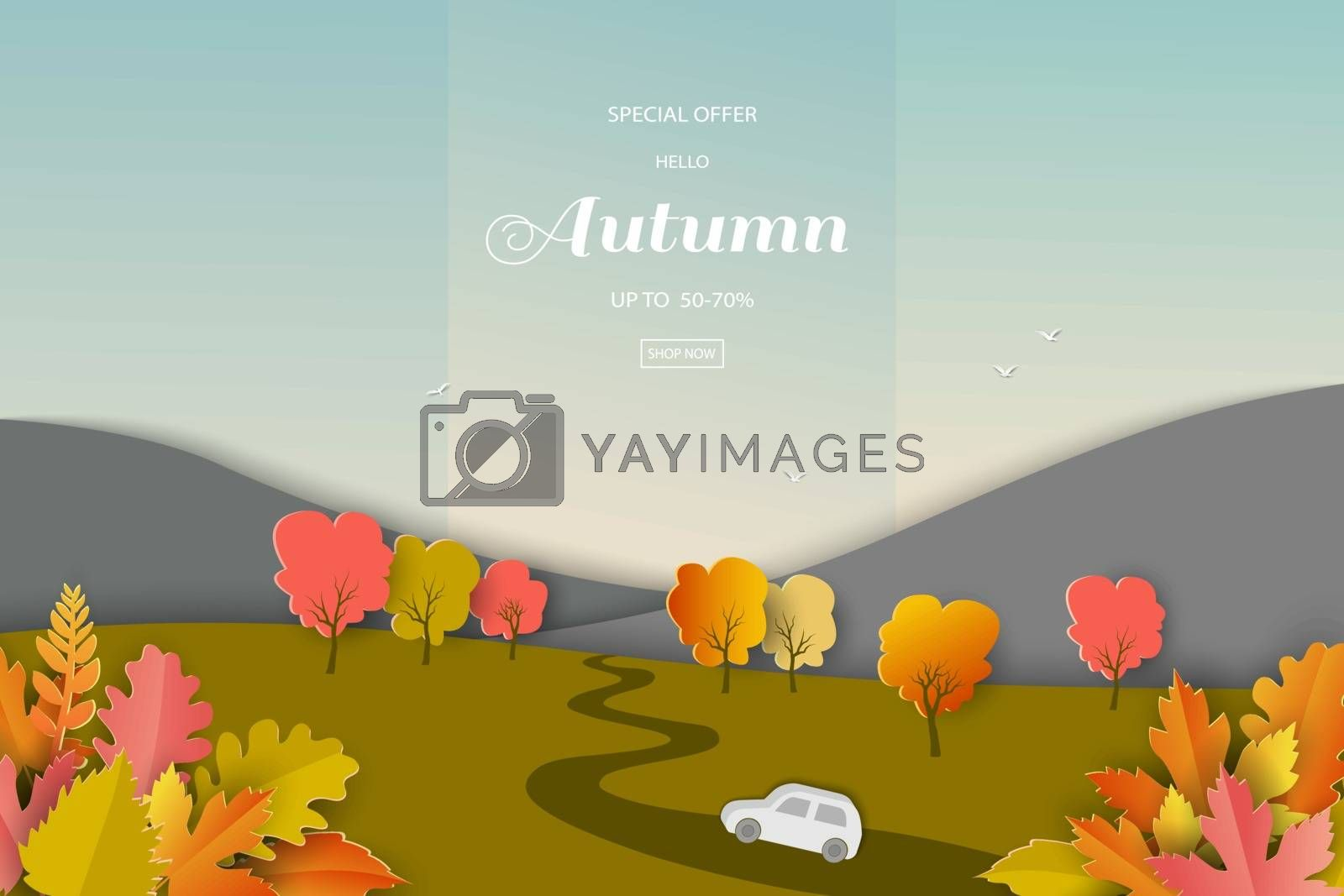 Landscape of autumn or fall background with colorful leaves for shopping promotion,web banner,poster or flyer by PIMPAKA