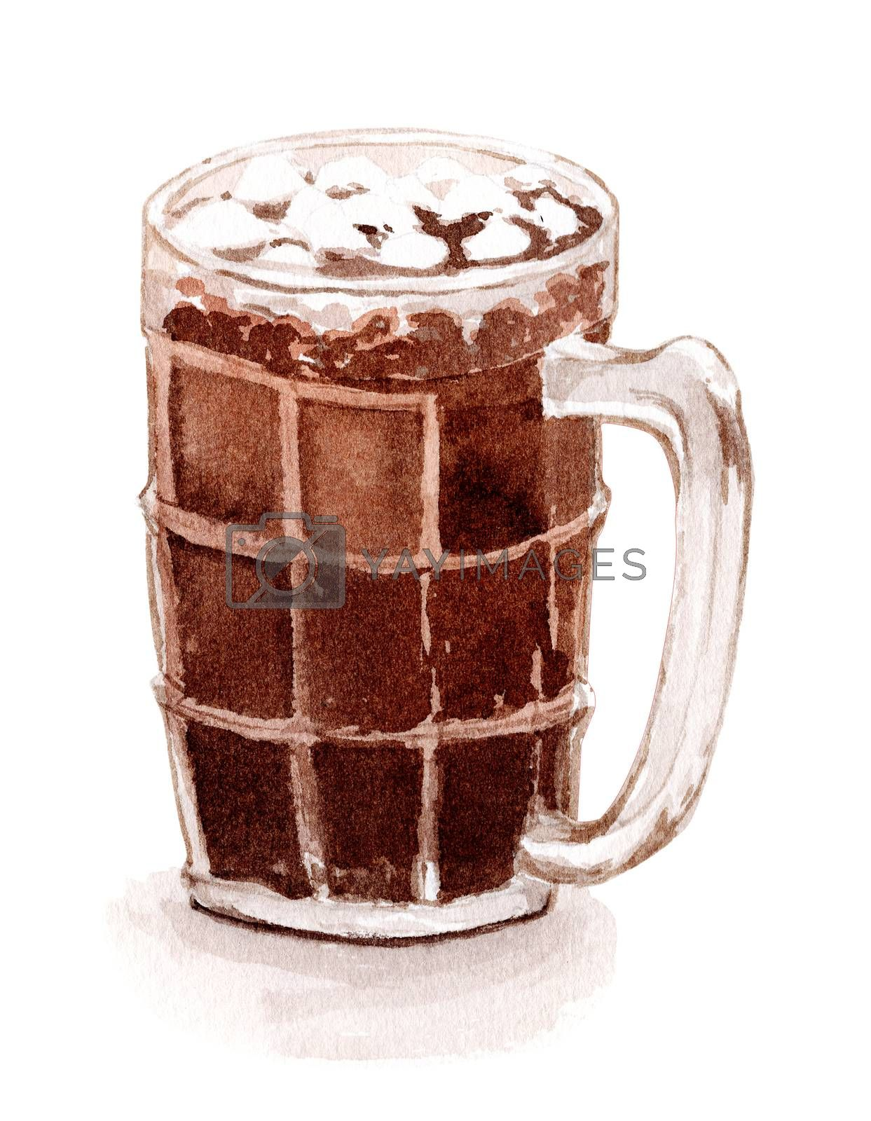 O-Liang, iced black coffee in Thai local style. Popular drinks in the 90s. watercolor hand-painting illustration in a realistic style.