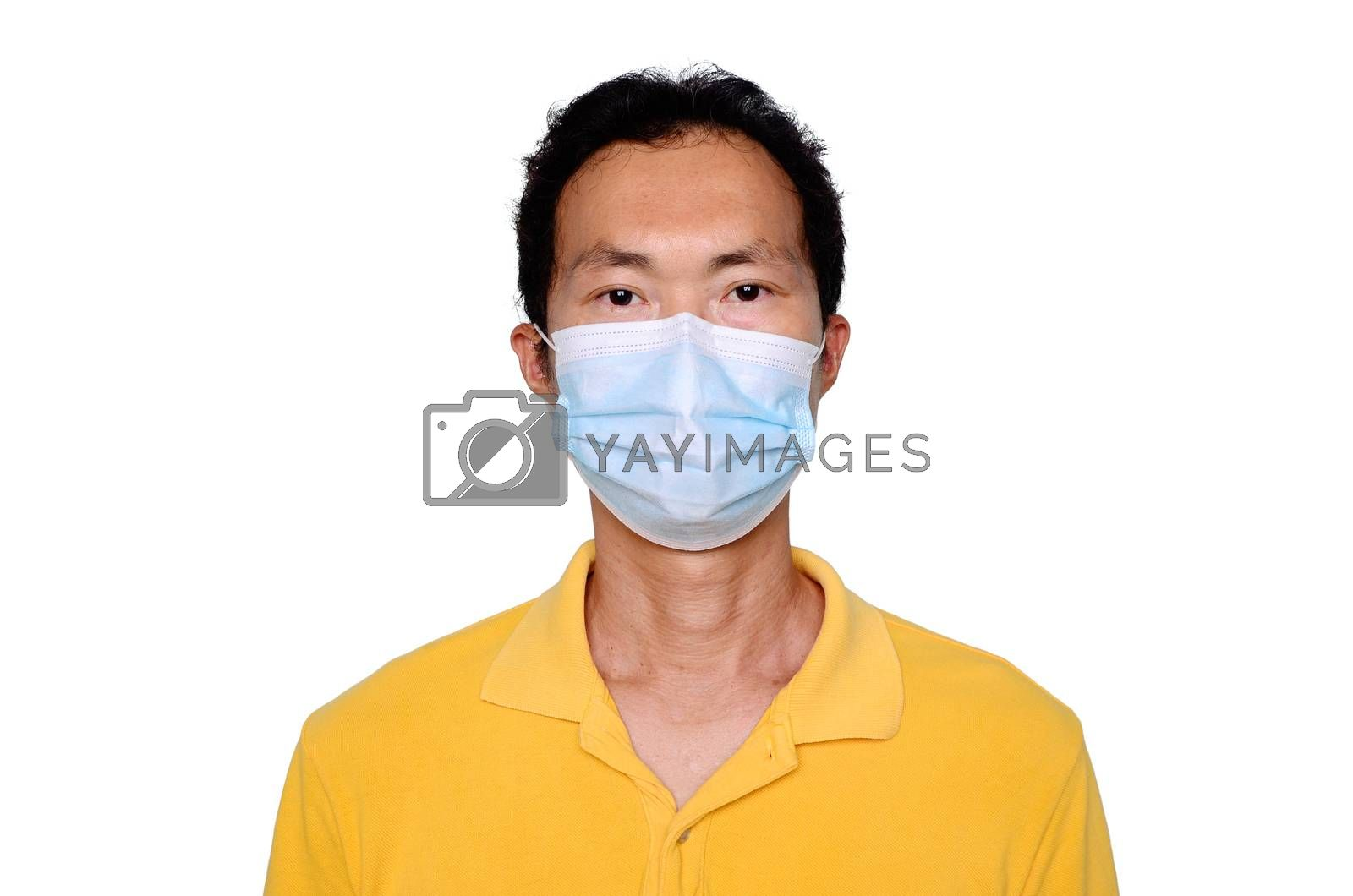 Asian middle age man in blue t-shirt wearing medical mask, isolated on white background. Coronavirus or covid-19 protection concept.