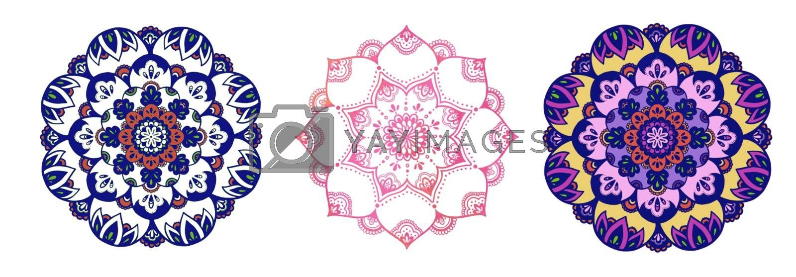 Circular pattern in form of mandala for Henna, Mehndi, tattoo, Yoga logo. Background for meditation poster. Unusual flower shape oriental line vector. Anti-stress therapy pattern.