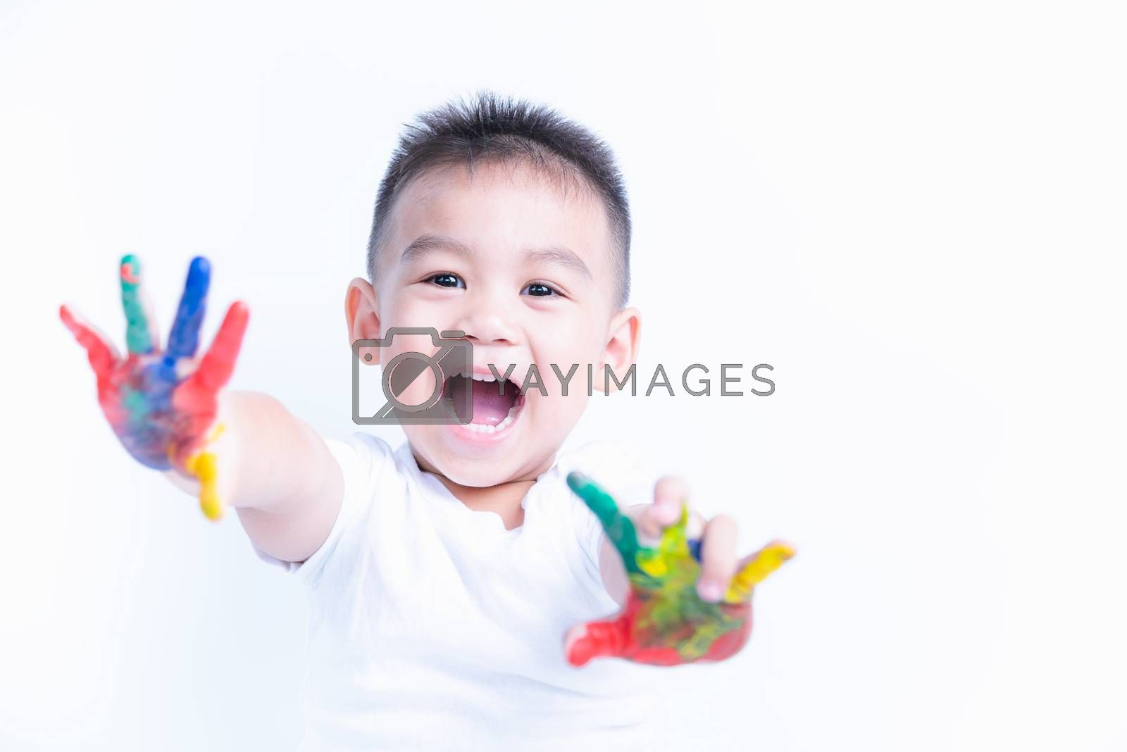 Portrait of Asian happy little baby boy happy face show hand he has watercolor or finger paint on hands the photography in the studio on with background, Baby 2-3 years