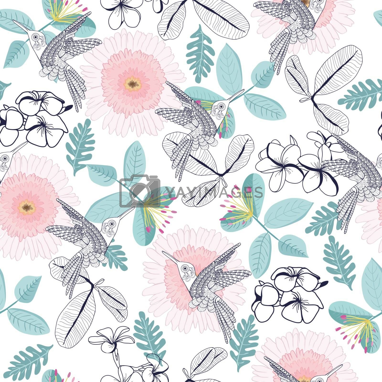Vector hand drawn beautiful pattern of decortive plumeria and gerbera flowers and humming-bird. Can use for pattern, template, banner, posters, invitation and greeting card design.