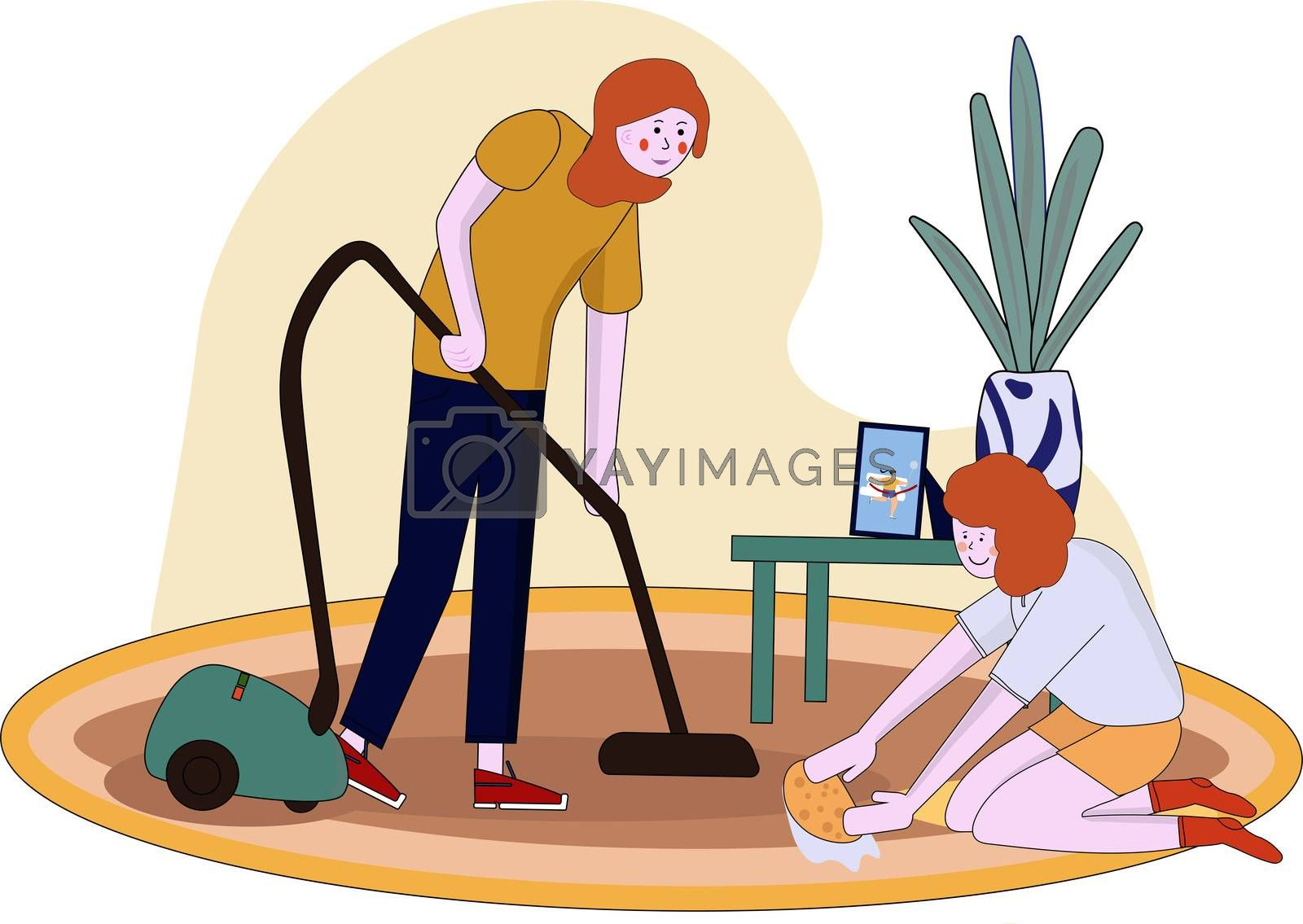 Mother and little daughter Cartoon housework. A young woman and a girl are washing the floor. The woman vacuums. cleaning the house and dusting together