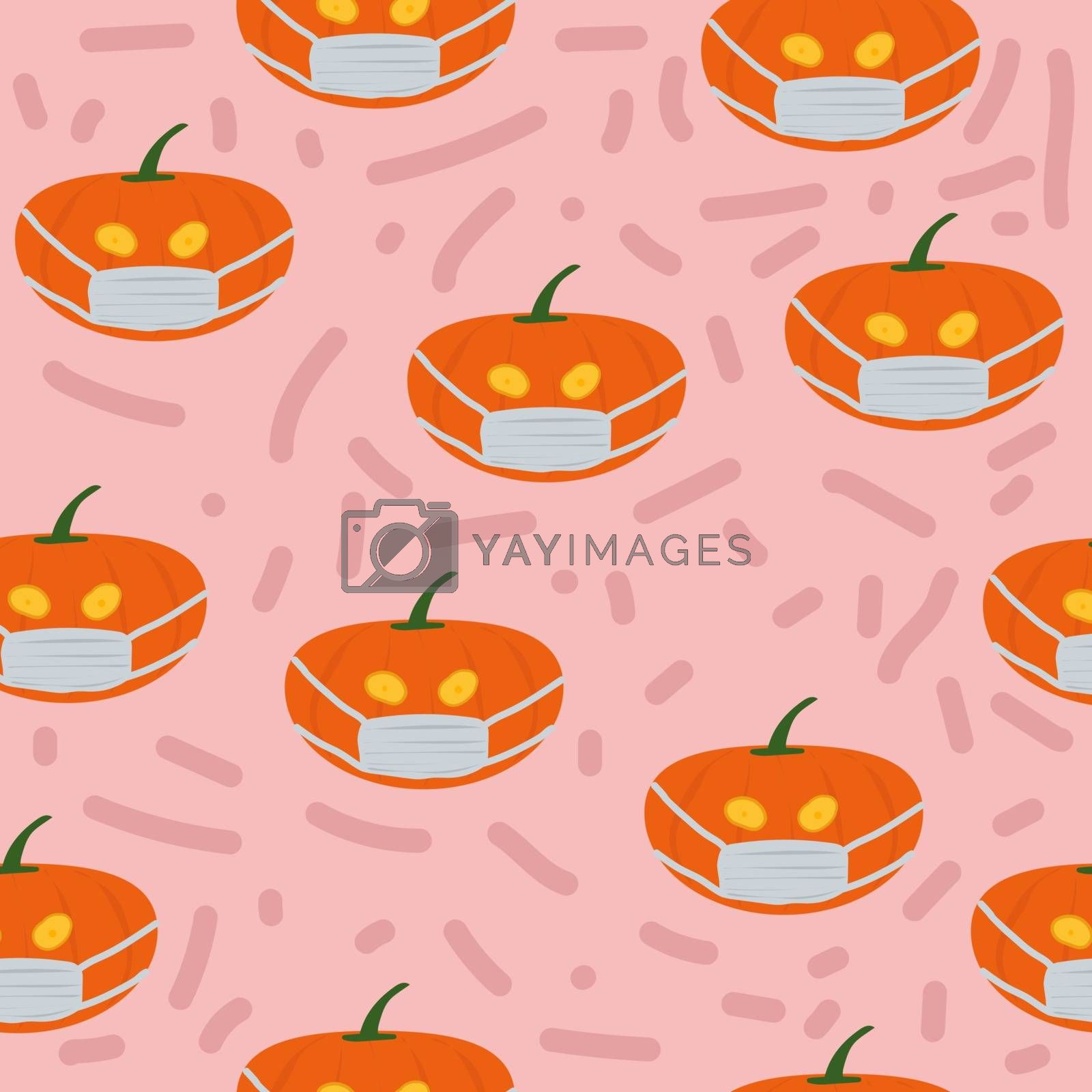 Seamless Pattern is Halloween Jack O Lantern Pumpkin Corona Virus Covid19 Wearing Mask Drawing Vector Sketch Colorful Illustration.