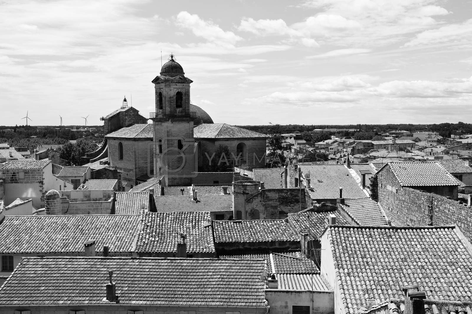 Deserted tiled roofs of France in black and white. An optimistic view over a sleepy city of Beaucaire