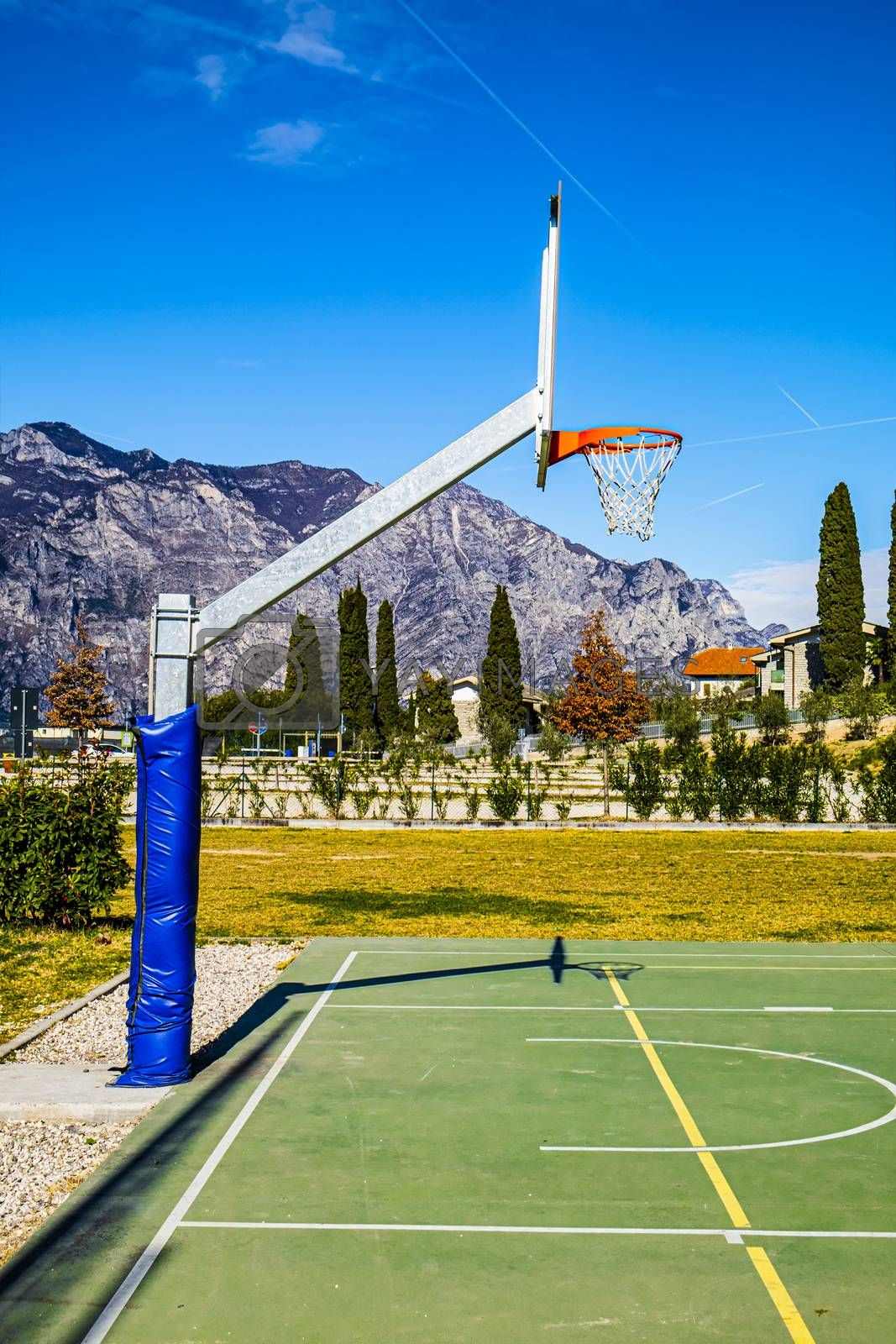 Deserted sports field on the shores of Lake Garda in Italy.
