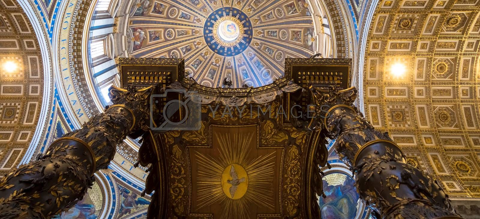 Saint Peter Basilica, Vatican State in Rome: interior with detail of cupola decorations
