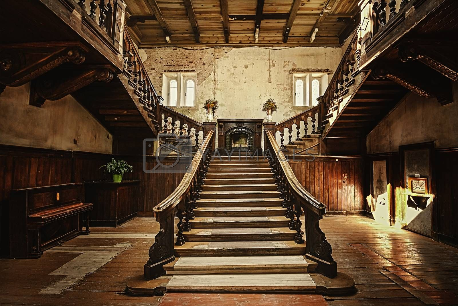 Staircase in an old abandoned palace