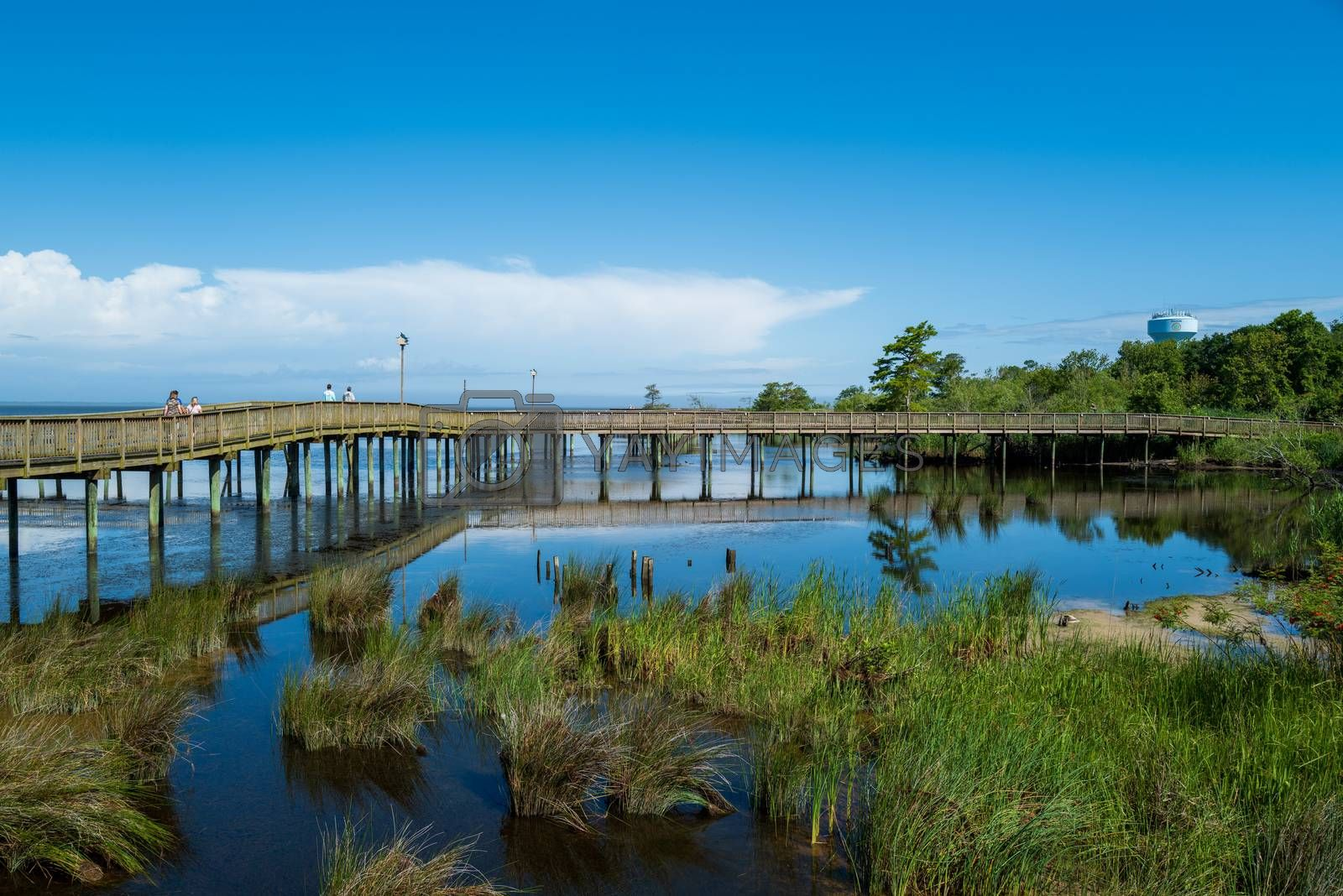 Duck, North Carolina, USA -- June 17, 2020.  A wide angle photo of the boardwalk that crosses over the water of Currituck Sound in Duck, NC.