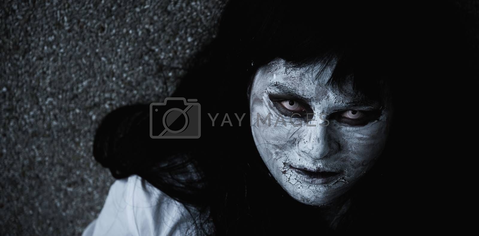 Close up face of Horror woman ghost creepy, halloween day concept