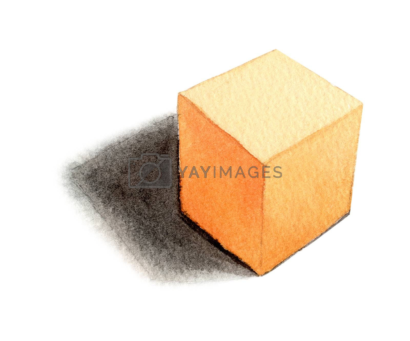 orange cube - light from the right, basic geometric shapes with dramatic light and shadow in watercolor style. Solids isolated on a white background. Clipping path.
