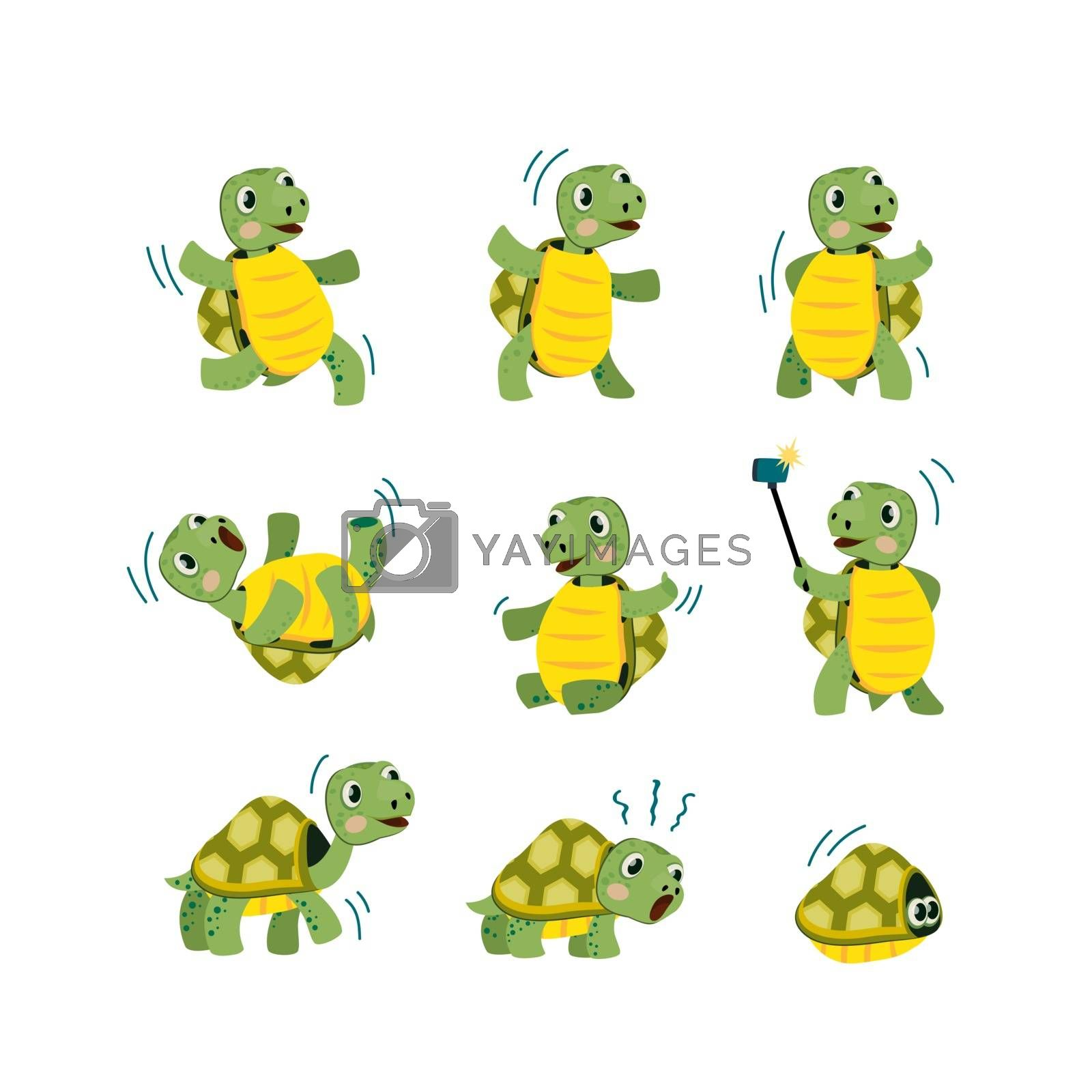 Cute little turtle flat icon set. Cartoon smiling animal character dancing, walking and having fun isolated vector illustration collection. Mascot and tortoise concept