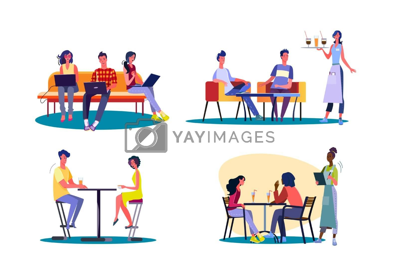 Meeting with friends set. Group of friends spending time together in bar or cafe. Flat vector illustrations. Friendship, communication concept for banner, website design or landing web page