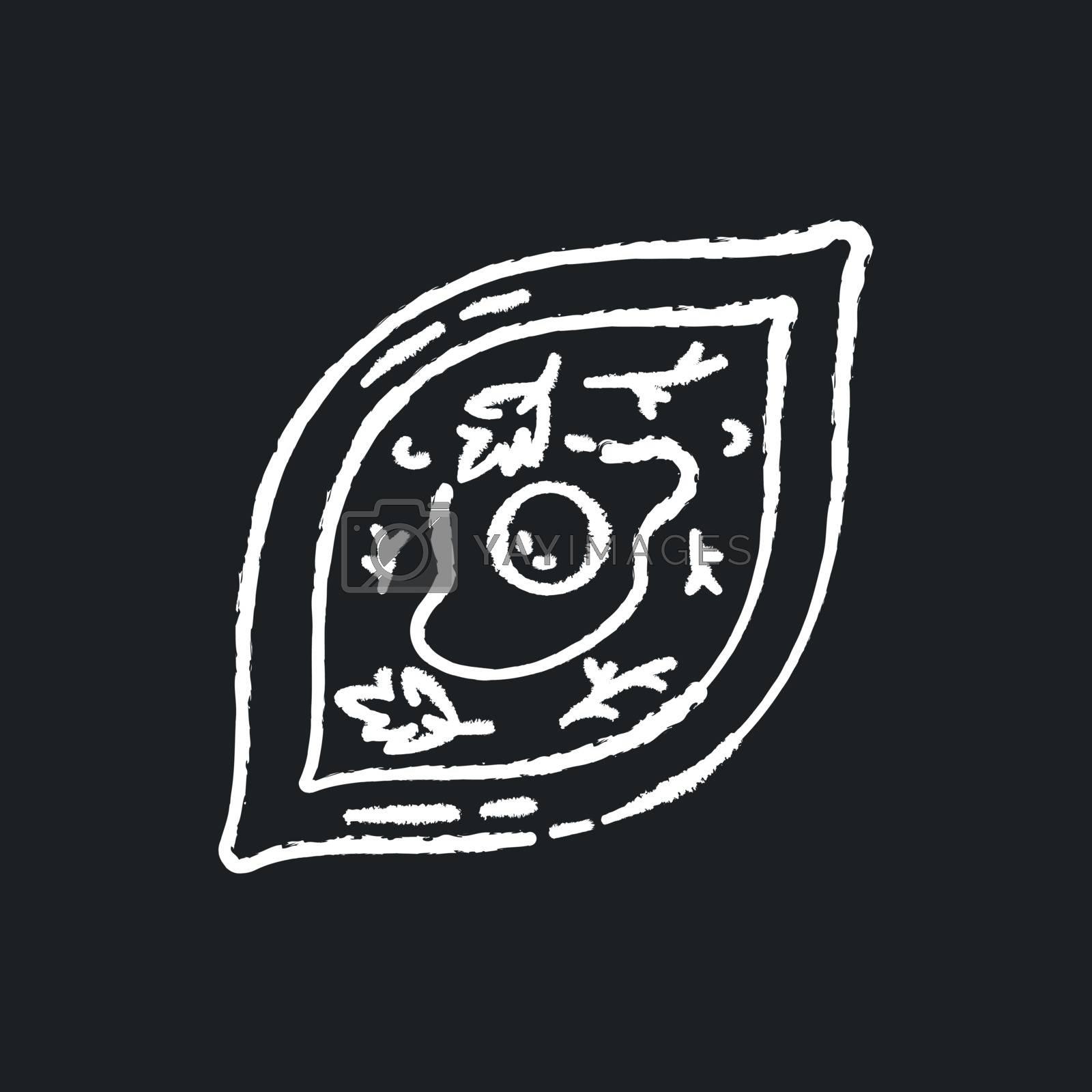 Khachapuri chalk white icon on black background. Oriental meal. Adjara dish. Georgian dish recipe. Hot food with seasoning. Lunch cookery. Homemade breakfast. Isolated vector chalkboard illustration