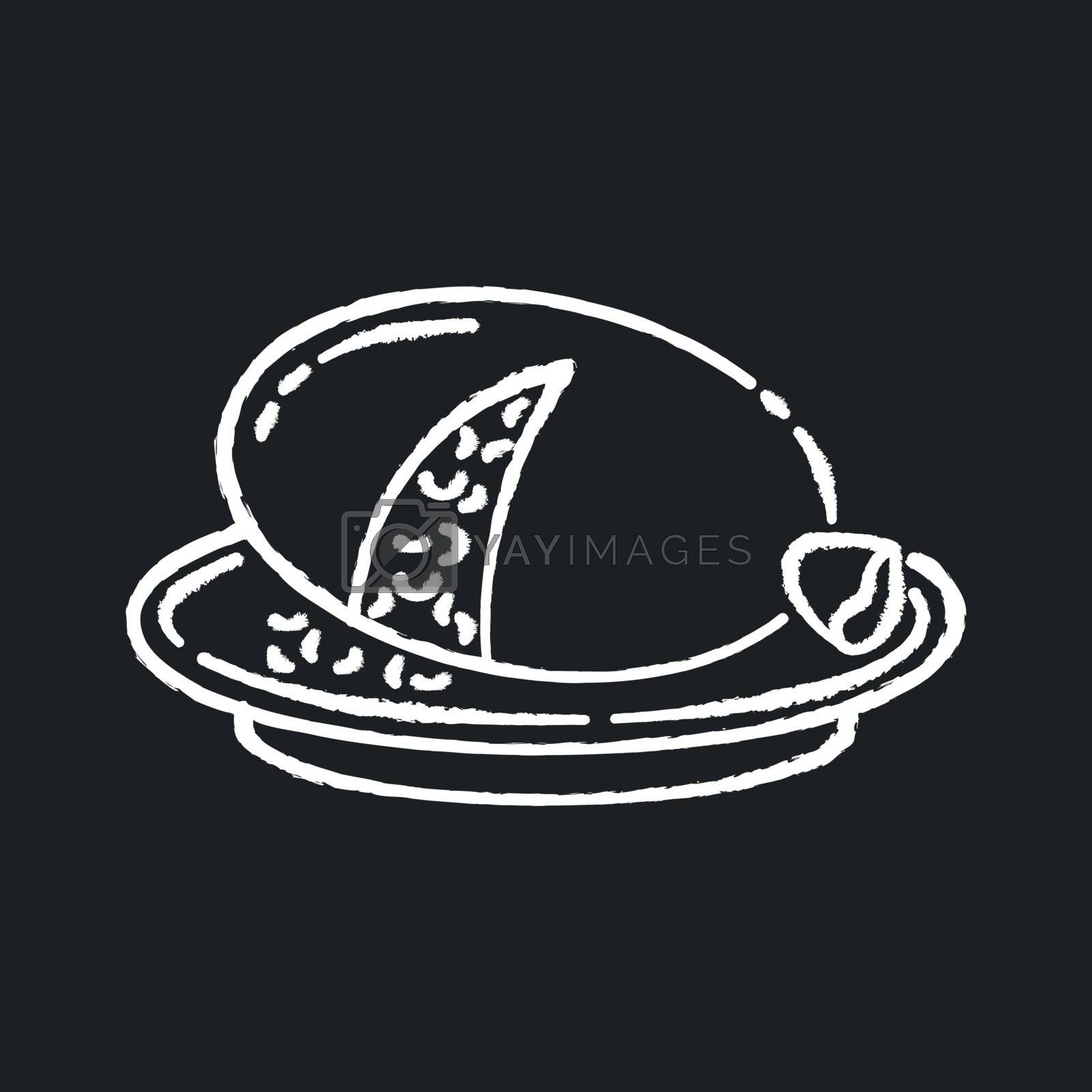 Haggis chalk white icon on black background. Scottish savory meal. National pudding recipe. Dish cooked in animal stomach. European mutton food. Isolated vector chalkboard illustration
