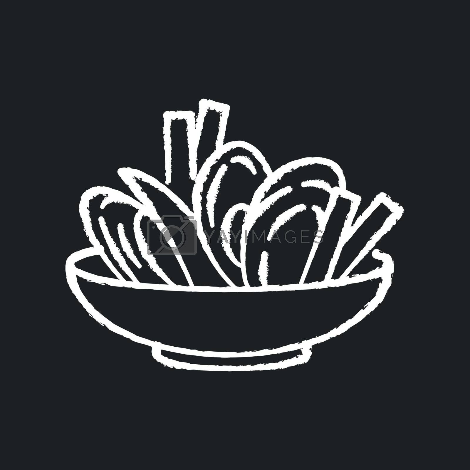 Moules frites chalk white icon on black background. Traditional mussels and chips. French national meal. Brussel culinary. European cuisine recipe. Isolated vector chalkboard illustration