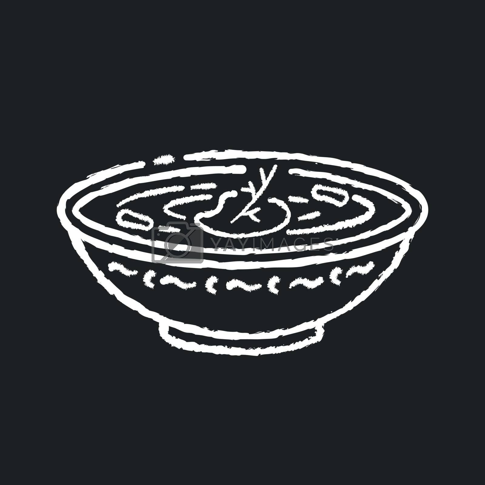 Borscht chalk white icon on black background. Ukrainian national food. Traditional russian recipe. Meal for dinner. Cream soup with seasoning in pot for lunch. Isolated vector chalkboard illustration