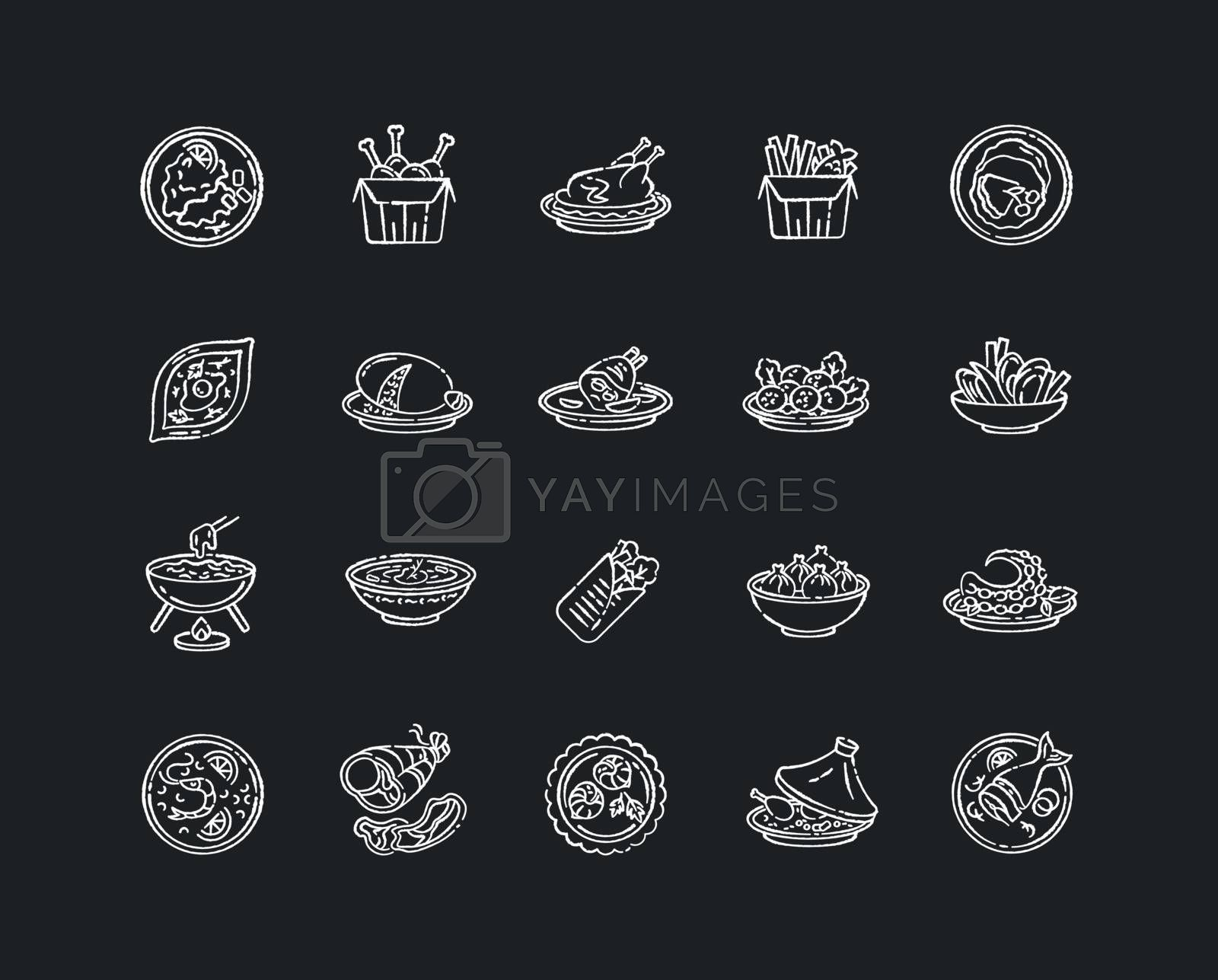 Best national dish chalk white icons set on black background. Traditional meal for tourist attraction. Lunch recipe. French fries. Chinese sea food. Isolated vector chalkboard illustrations