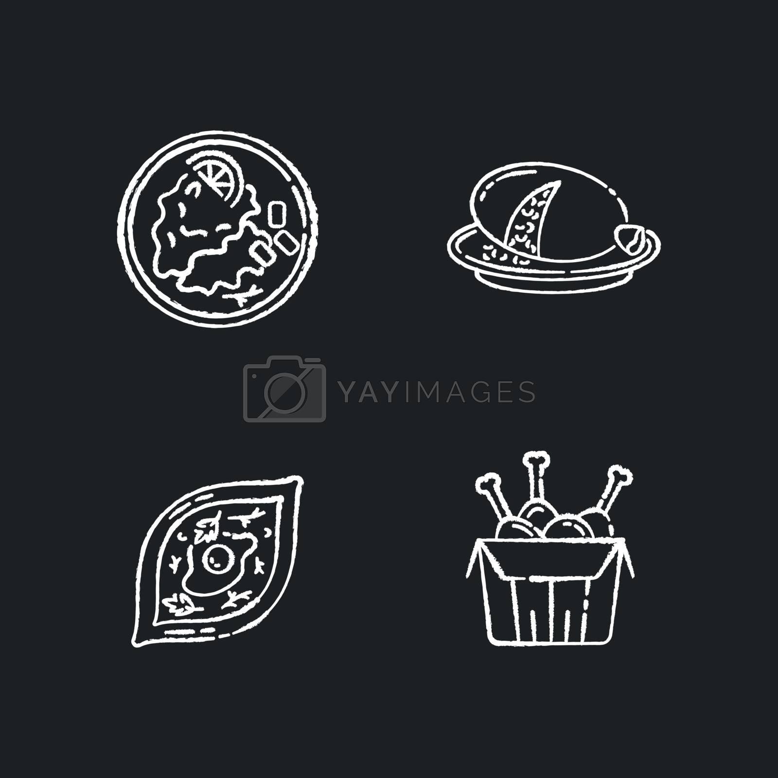 Fast food chalk white icons set on black background. Scottish haggis. Wiener schnitzel. Georgian khachapuri. Tandoori chicken. Fried junk food. Isolated vector chalkboard illustrations