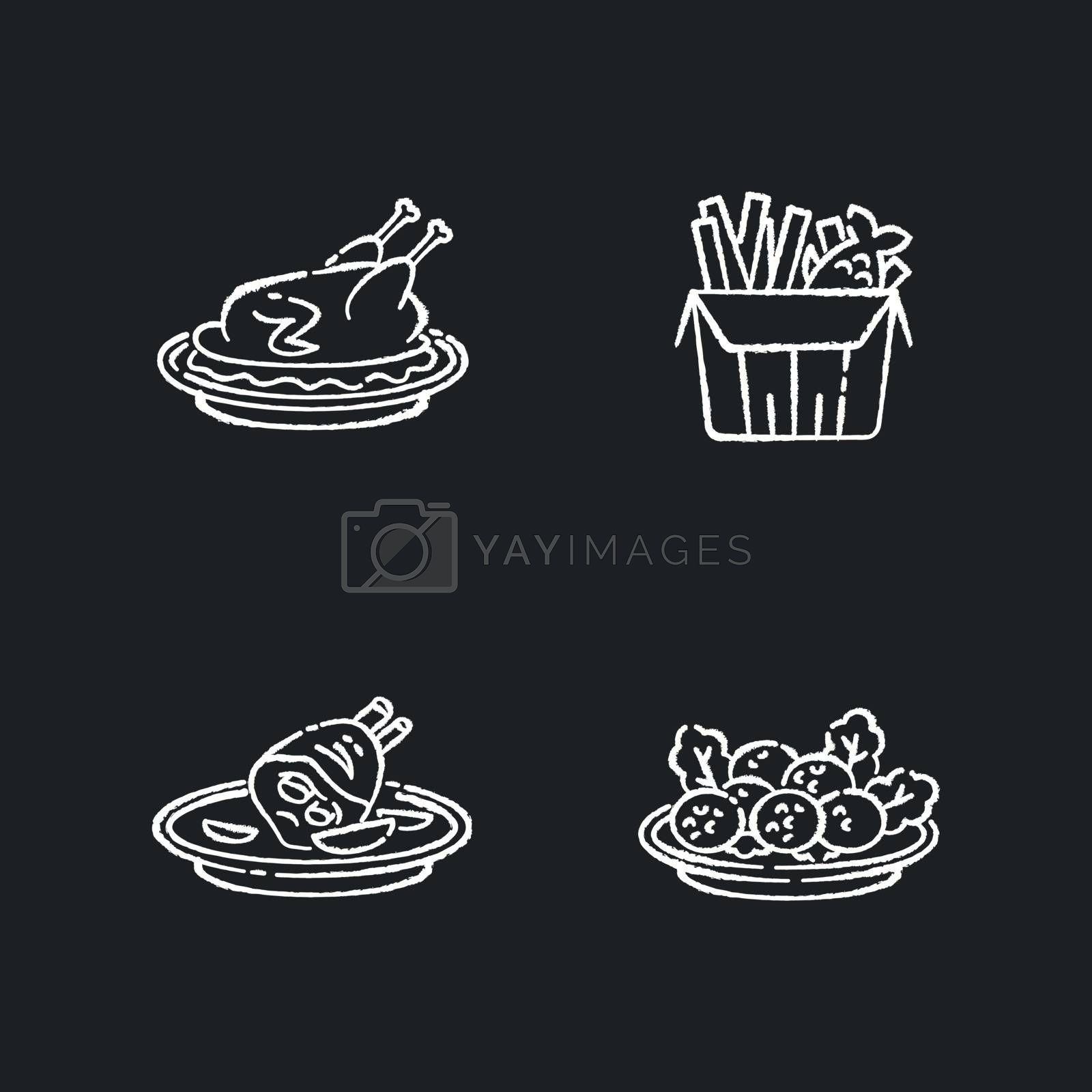 National cookery chalk white icons set on black background. Fast food. Peking duck. British fish and chips. Falafel dish. Recipe and ingredient for meal. Isolated vector chalkboard illustrations