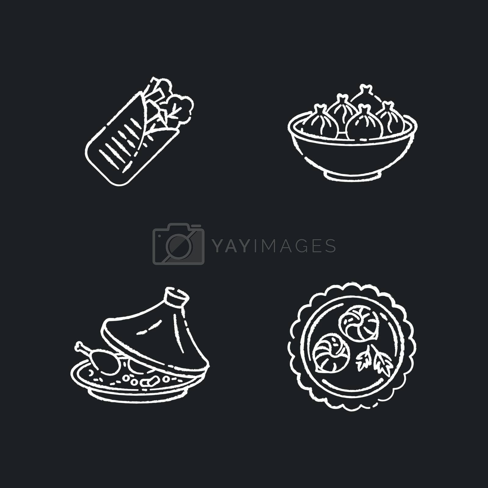Traditional dish chalk white icons set on black background. Shawarma from eastern cuisine. Asian dish. Chinese dumpling. Escargot de bourgogne. Isolated vector chalkboard illustrations