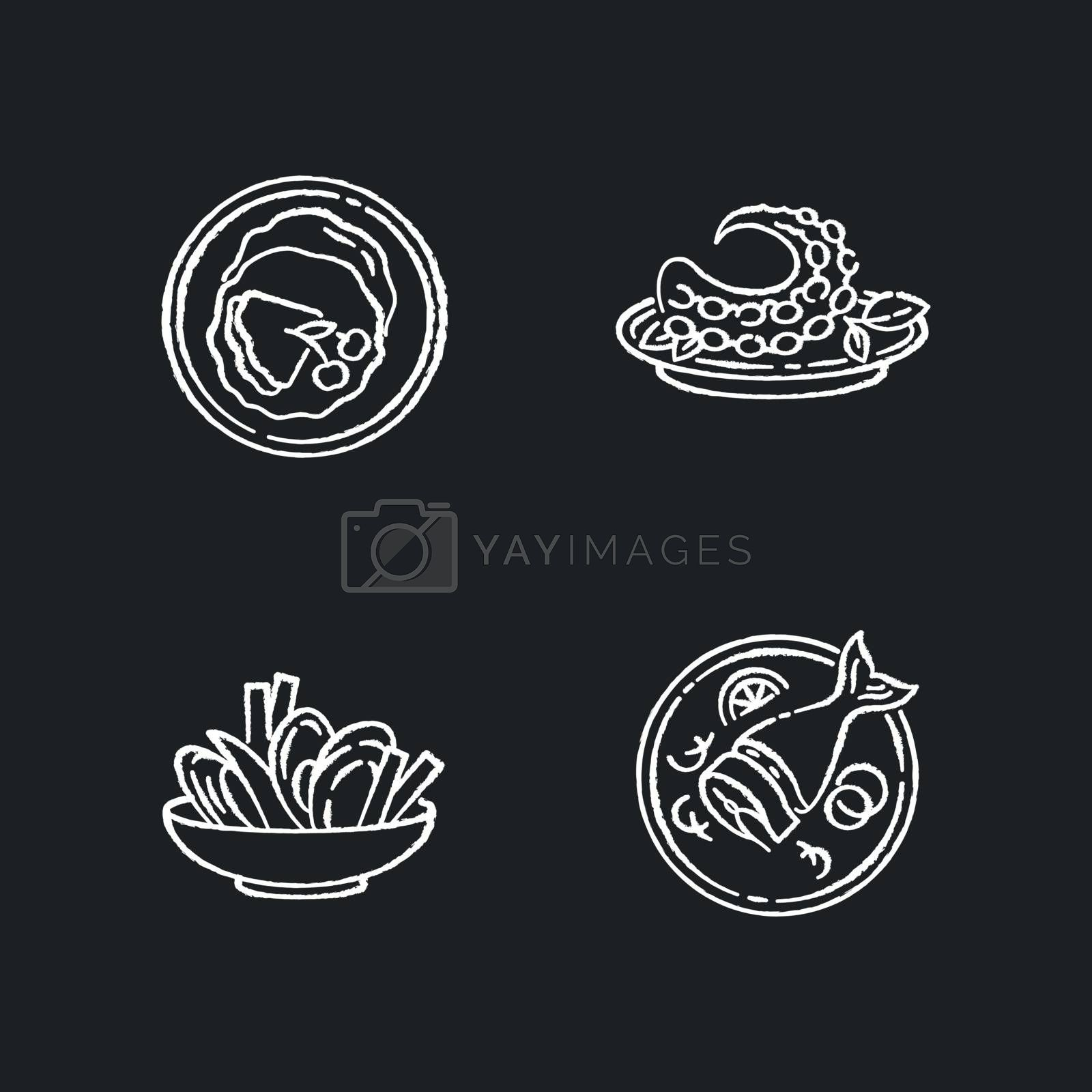 National dish chalk white icons set on black background. French crepes. Thin pancakes. Soused herring. Mussels and chips. Octopus dish. Restaurant meal. Isolated vector chalkboard illustrations