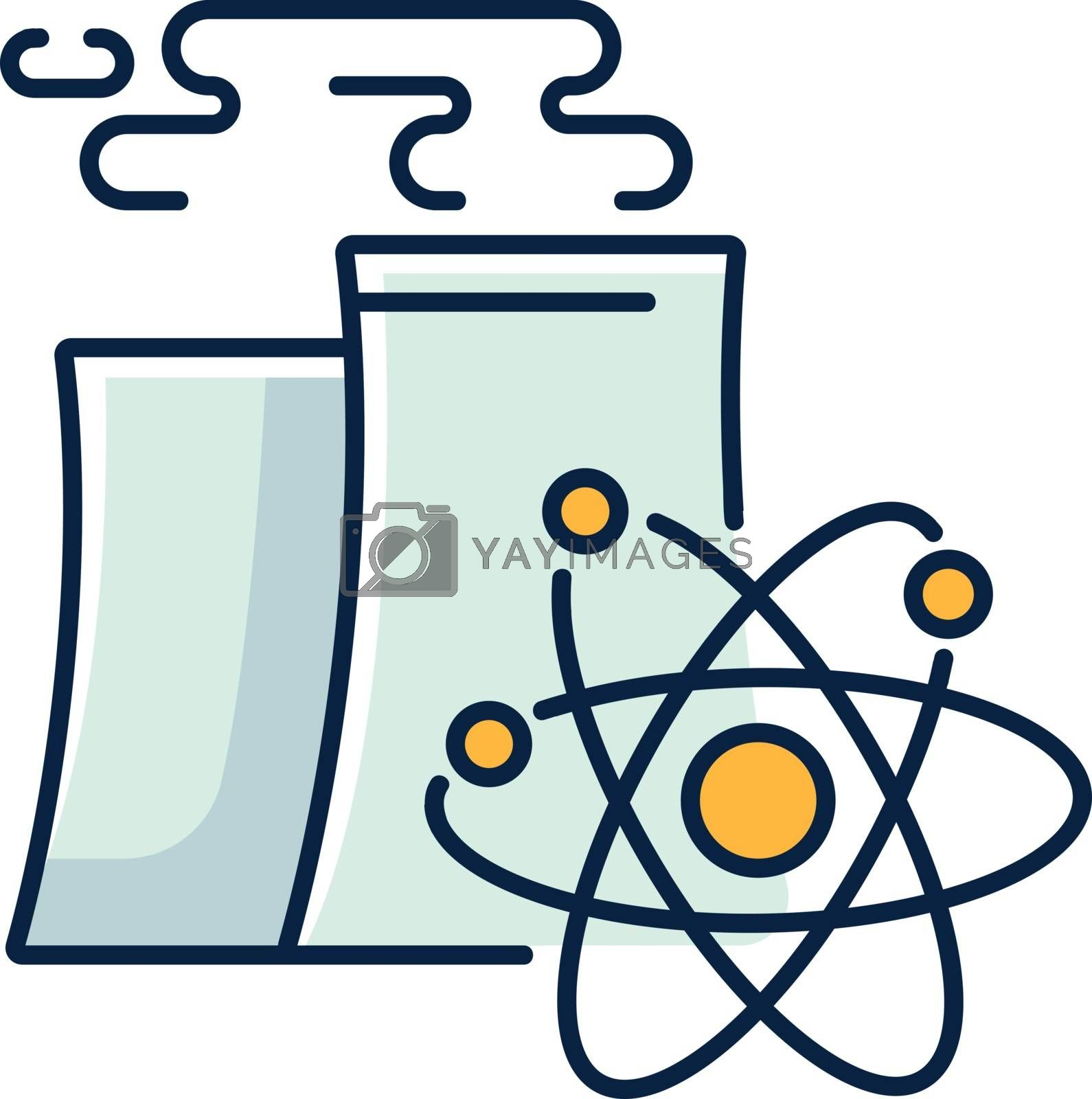 Nuclear industry RGB color icon. Atomic energy manufacturing technology. Modern power plant with nuclear reactor cooling chimney isolated vector illustration