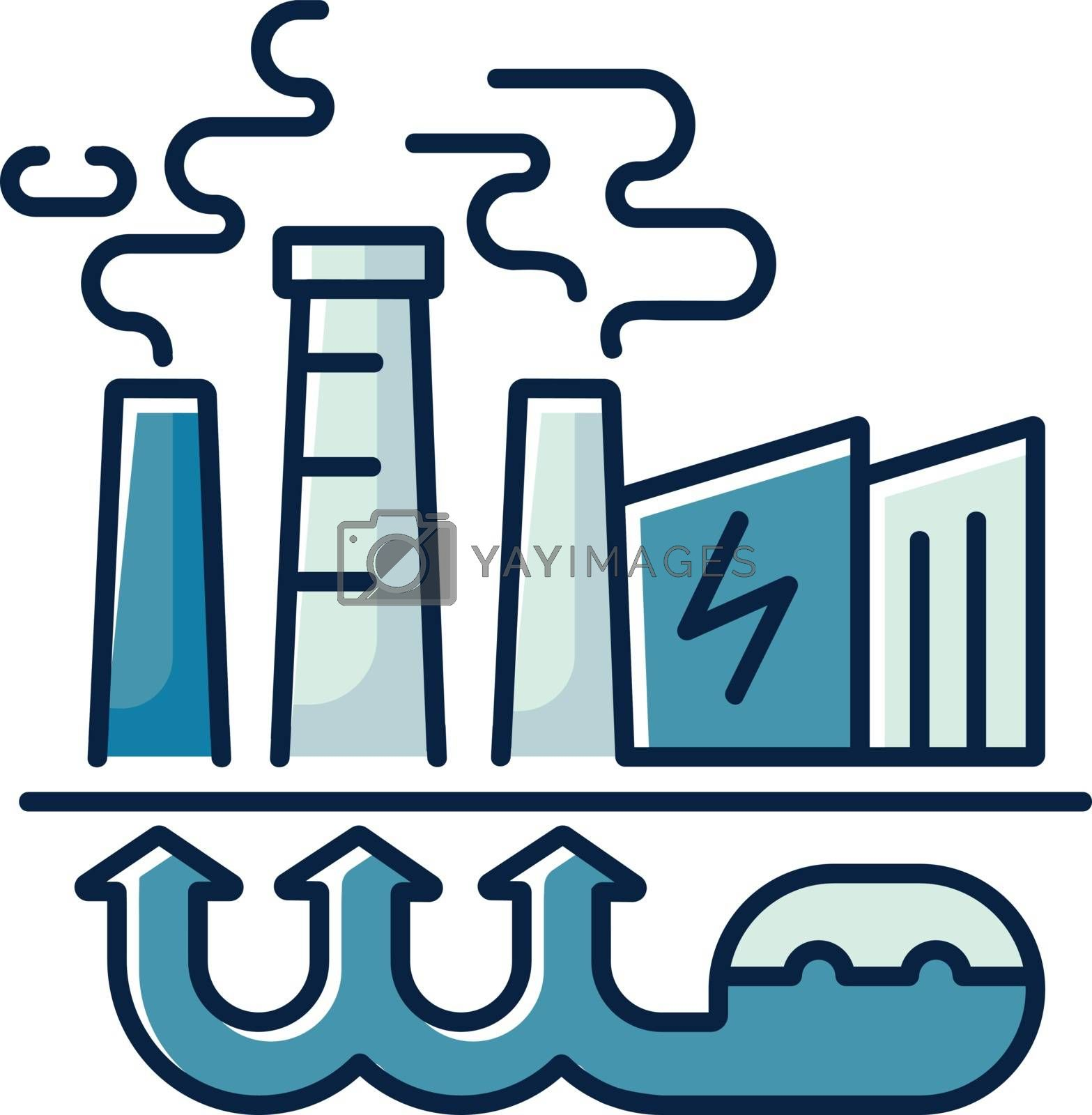 Geothermal energy RGB color icon. Industrial power plant, thermal station. Using renewable natural resources, sustainable energy. Isolated vector illustration