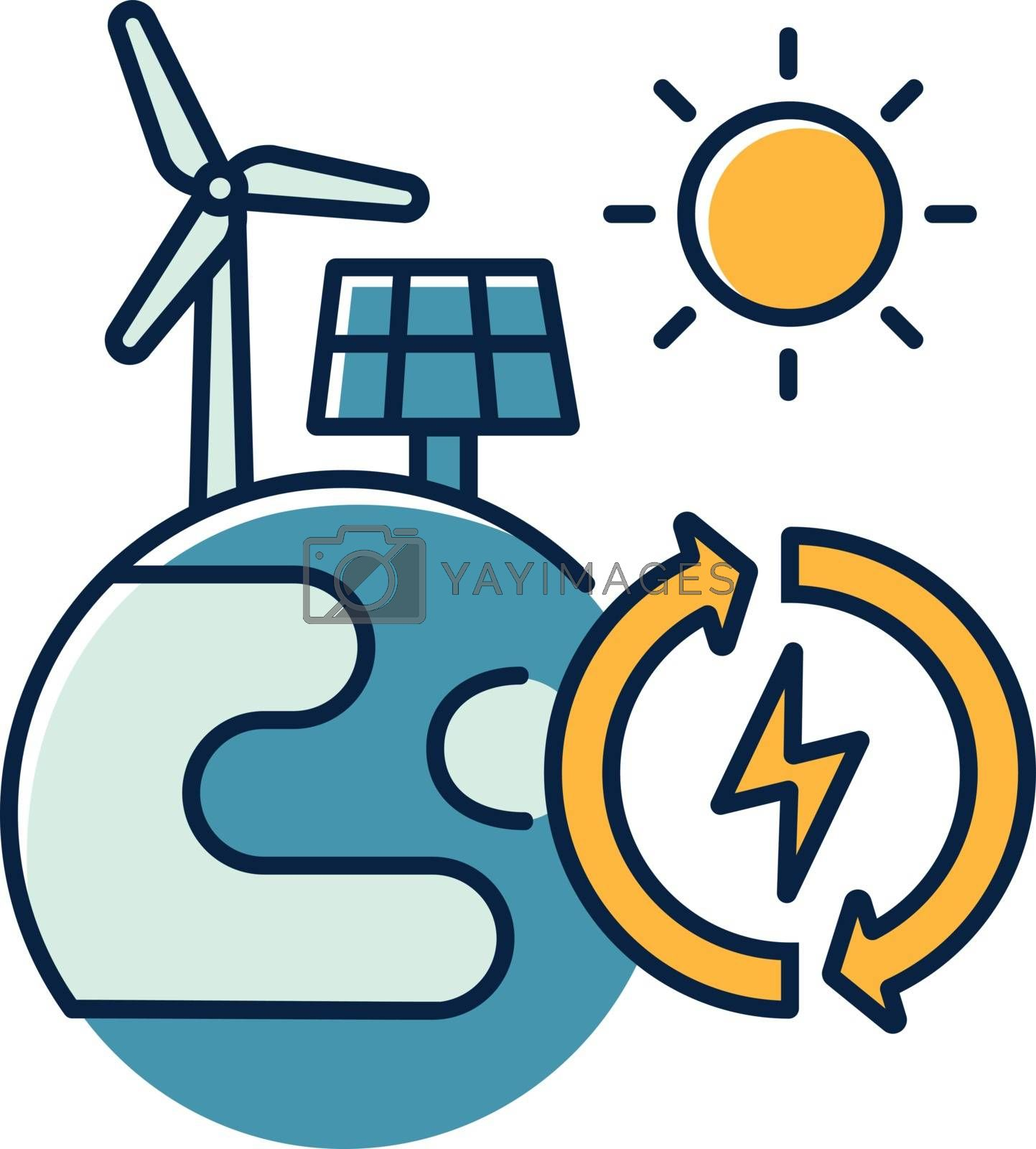 Renewable energy RGB color icon. Alternative power generation sources. Environment protection. Planet with solar panel and wind turbine isolated vector illustration