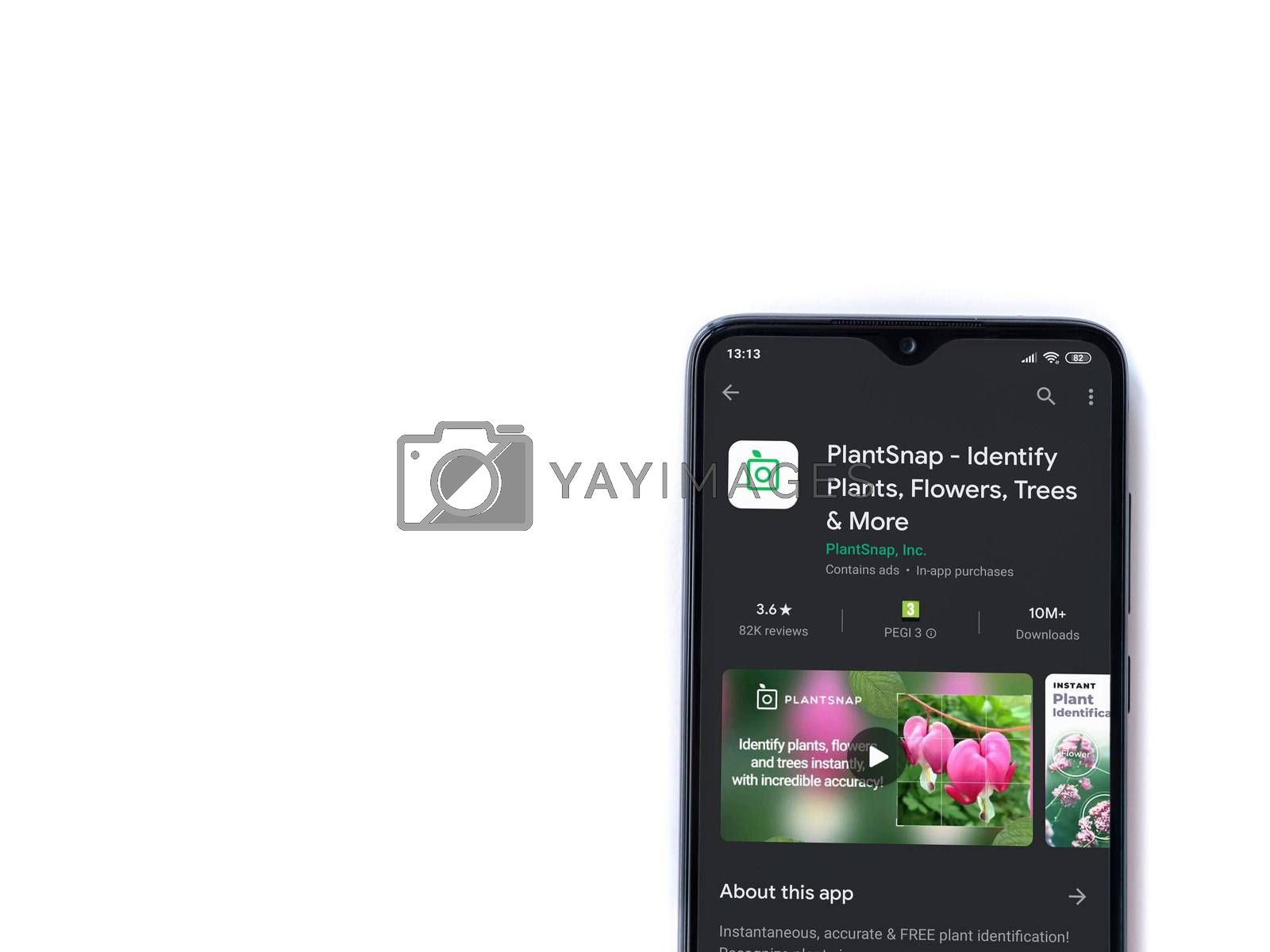 Lod, Israel - July 8, 2020: PlantSnap app play store page on the display of a black mobile smartphone isolated on white background. Top view flat lay with copy space.