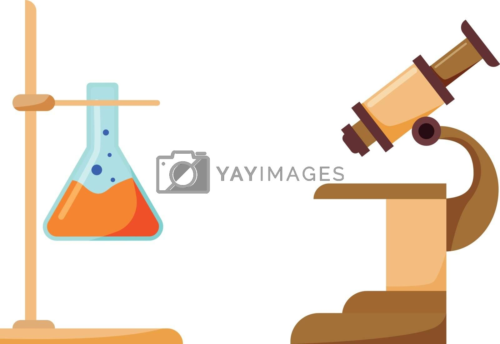 Scientist equipment flat color vector object set. Liquid in beaker. Microscope for research. Chemistry tools isolated cartoon illustration for web graphic design and animation collection