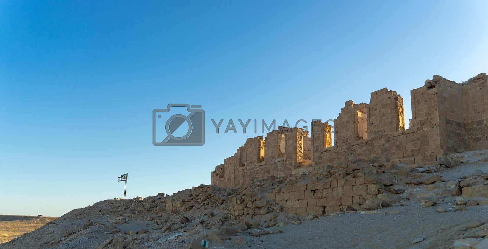 Vacation in Israel for ruins and history in national park of desert