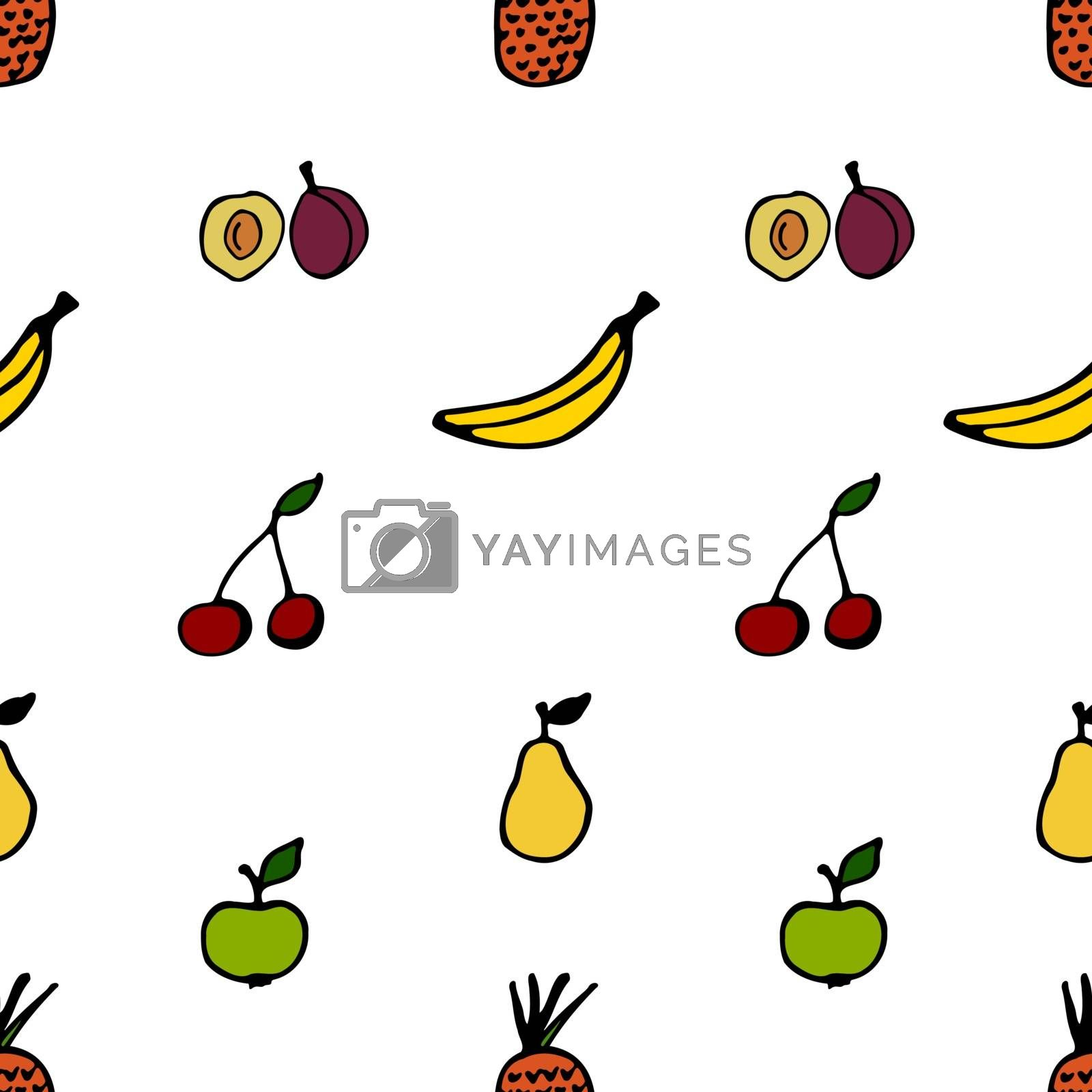 Seamless fruit pattern. Vector illustration including apples, pears, plums, bananas, pineapples and cherries.