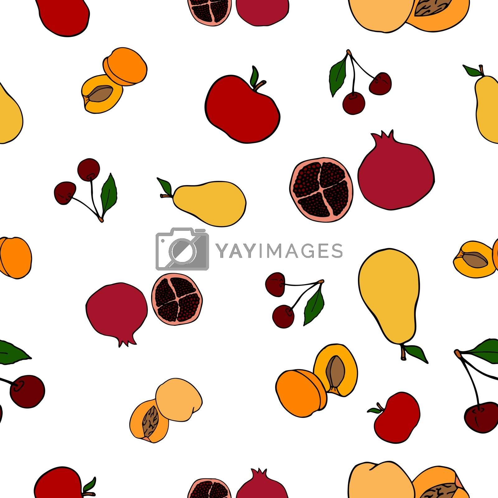 Seamless fruit pattern. Vector illustration including apples, pears, apricots, peaches, pomegranates and cherries.