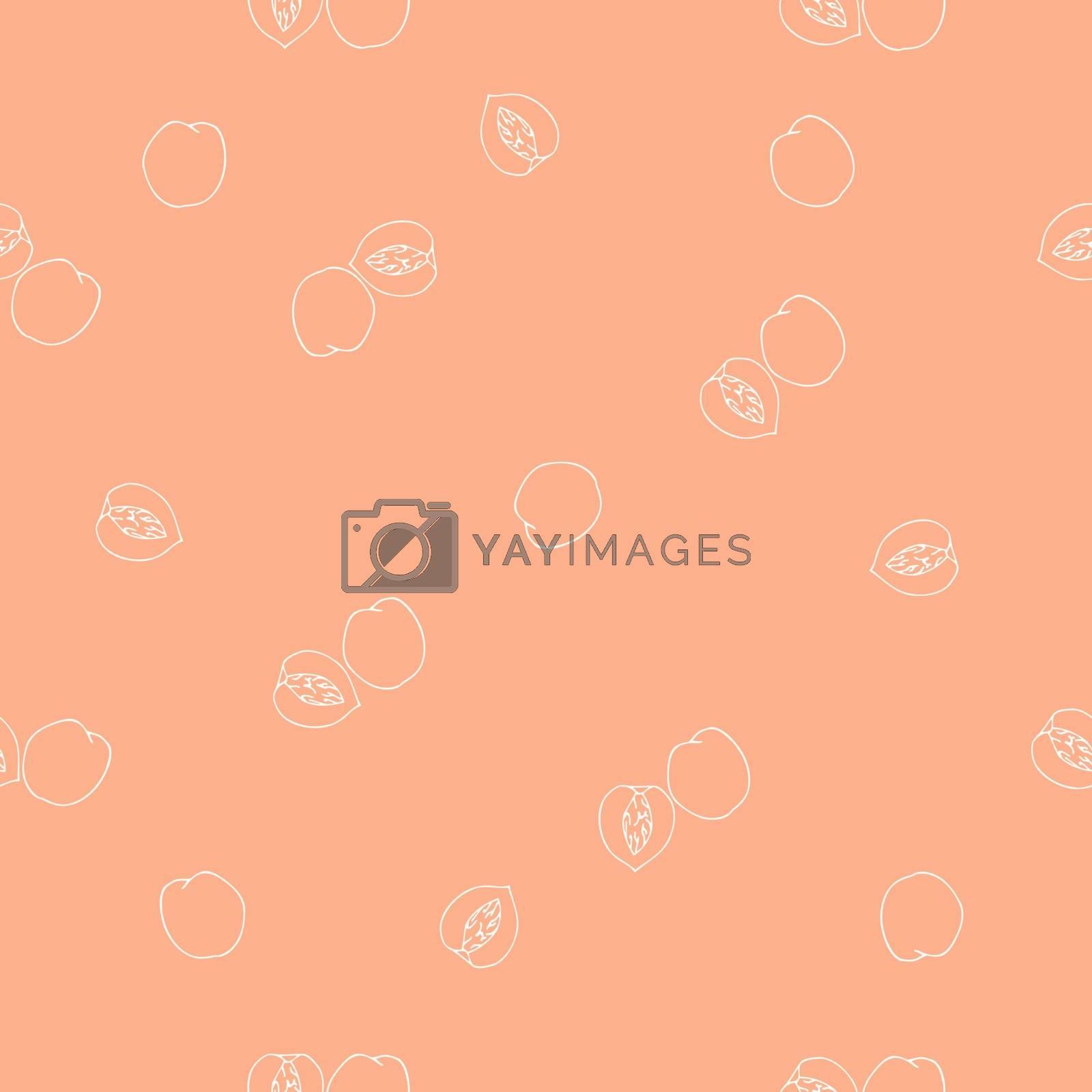 Seamless peach pattern. Vector illustration.
