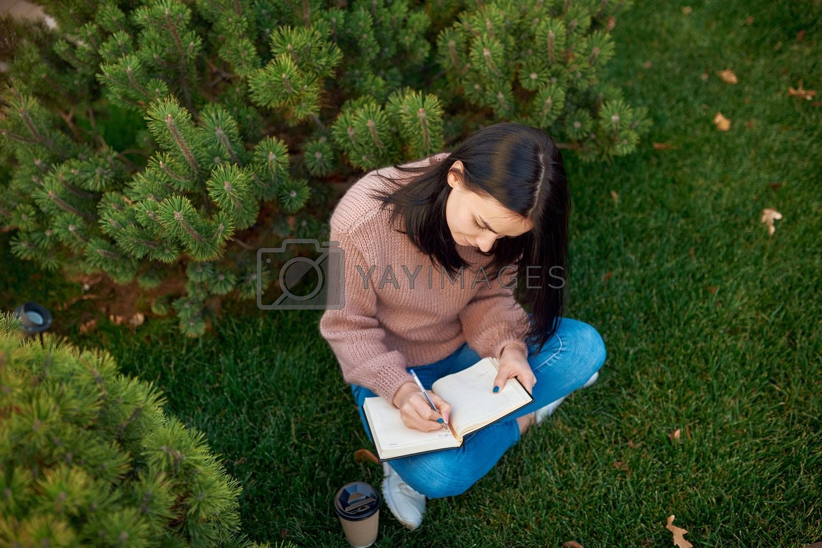 Top view of serious young female making some recordings in a thick copybook while sitting on a green grass lawn surrounded by conifers