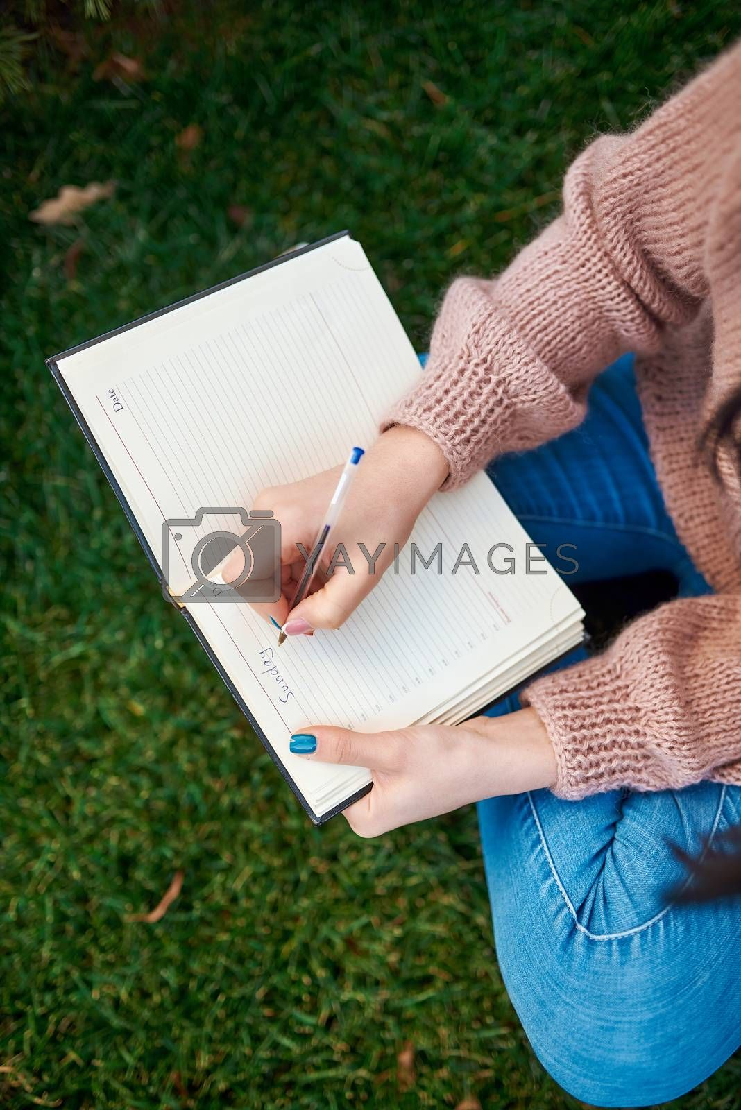 Top view of young lady in casual clothing writing something down to her daily planner while sitting cross-legged on green sward