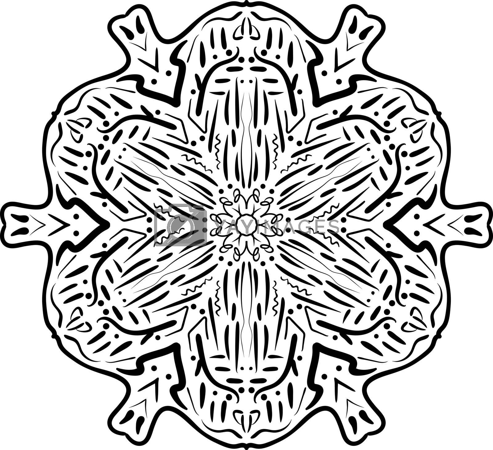 Mandala. Zentangle inspired vector illustration, black and white. Abstract diwali texture