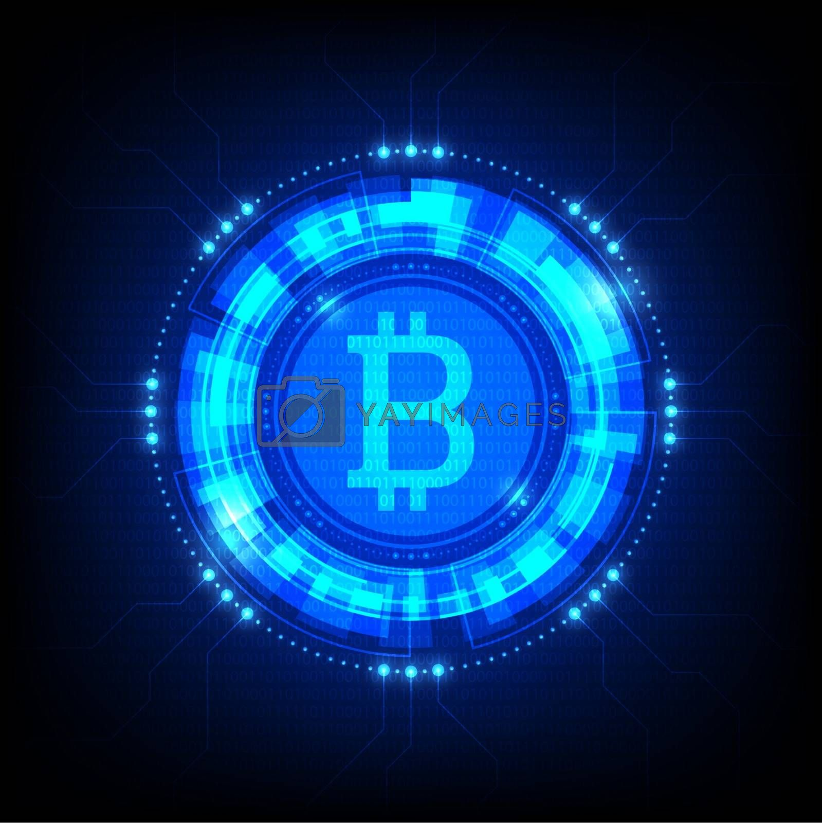 Bitcoin symbol with futuristic HUD interface, digital currency